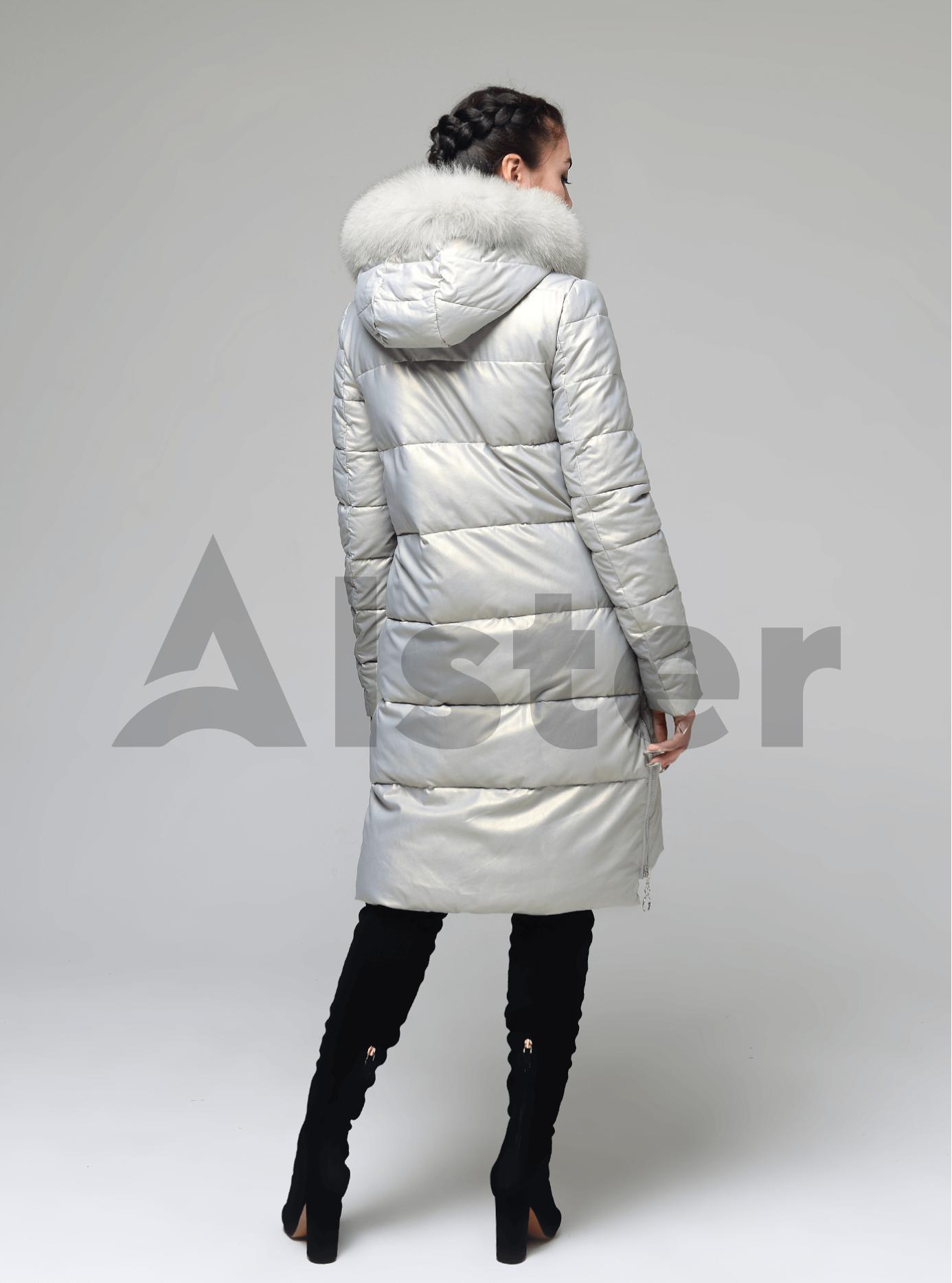 Куртка довга прямого крою з хутром песця Світло-срібний S (05-ZL2273): фото - Alster.ua