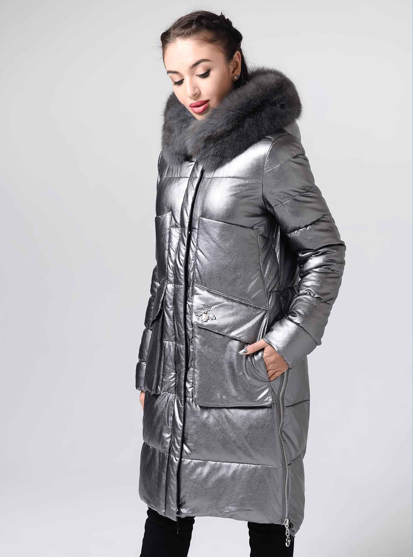 Куртка довга прямого крою з хутром песця Срібний S (05-ZL2265): фото - Alster.ua