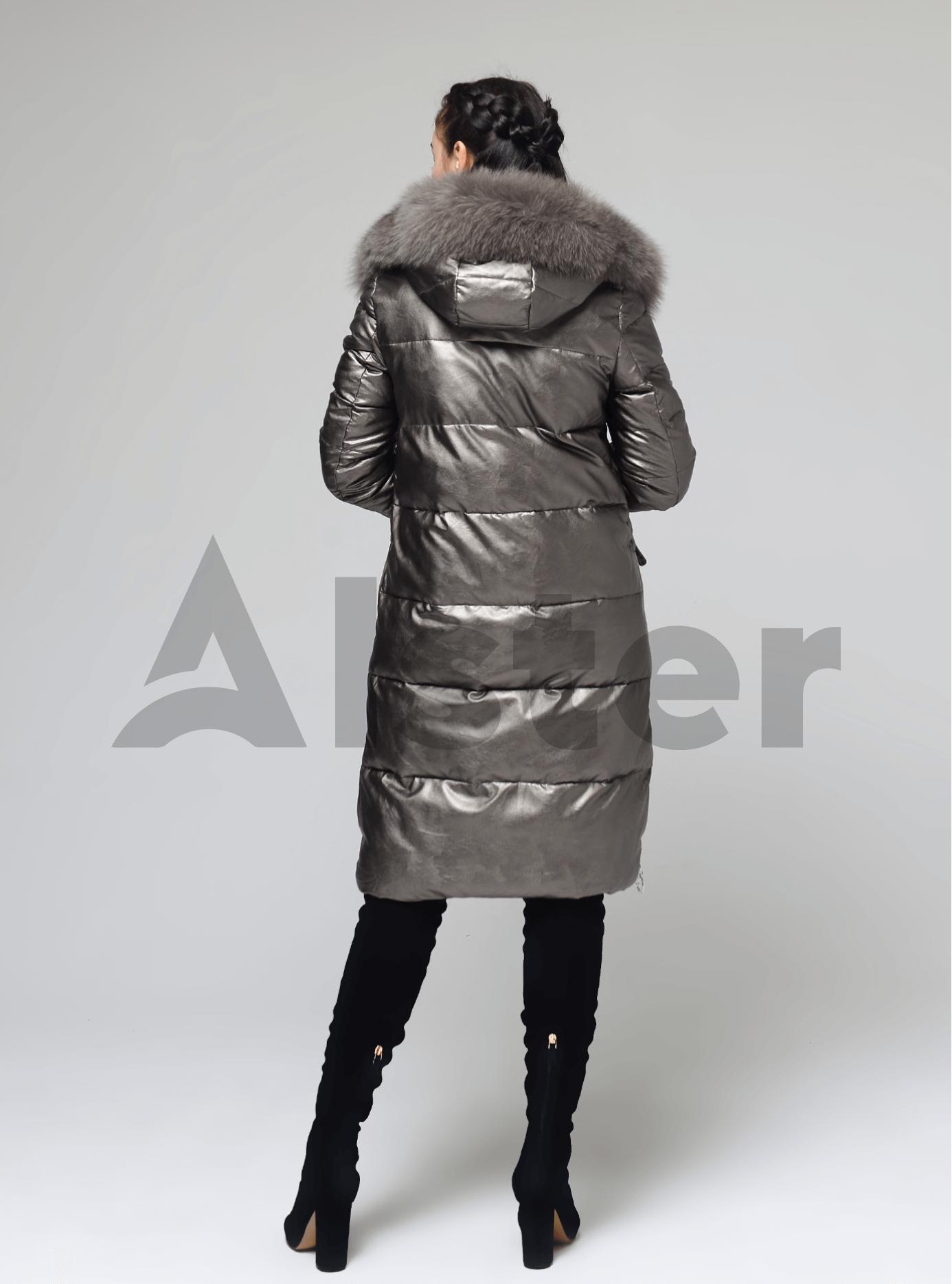 Куртка довга прямого крою з хутром песця Коричневий S (05-ZL2269): фото - Alster.ua