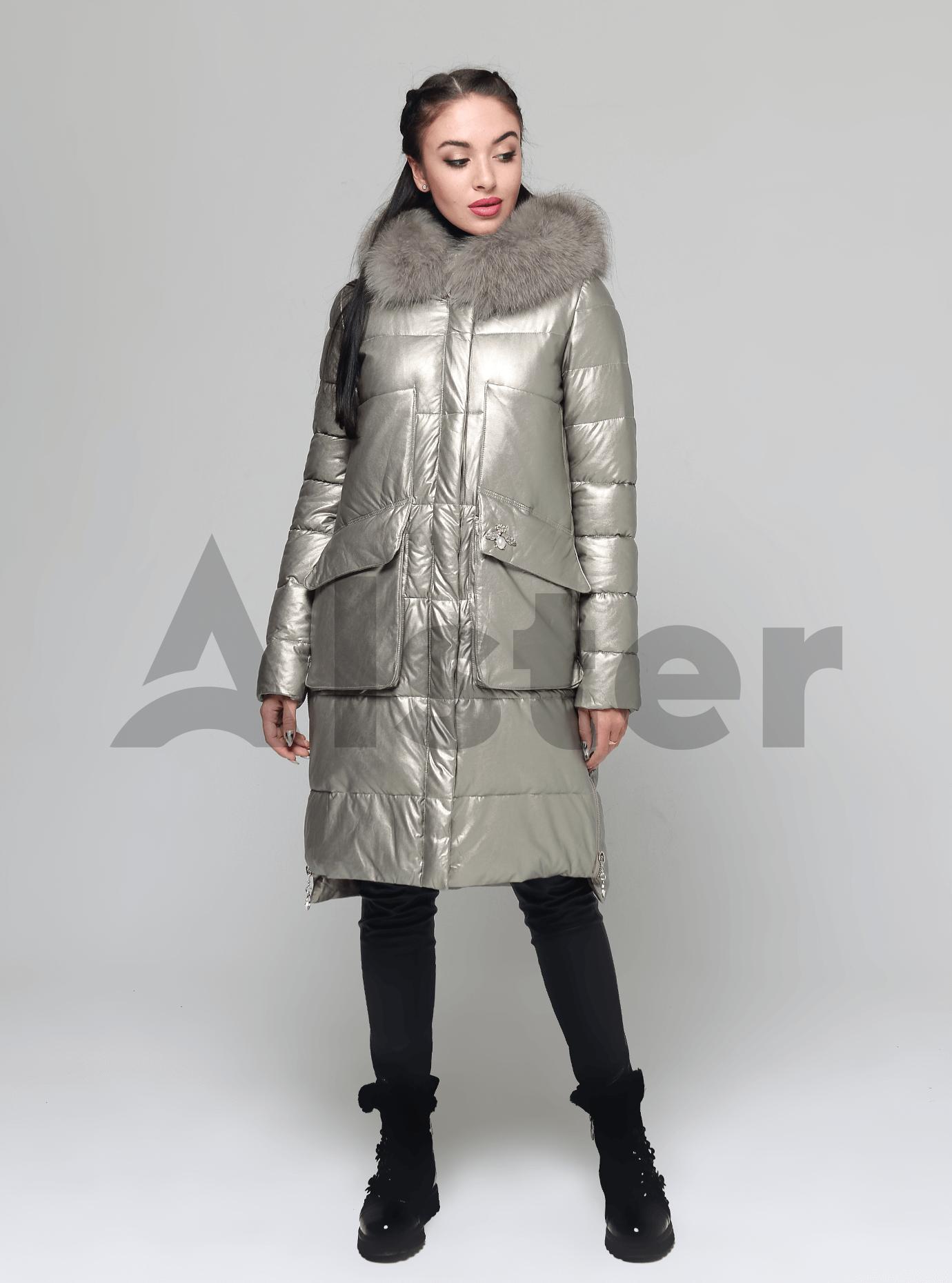 Куртка довга прямого крою з хутром песця Бежевий S (05-ZL2278): фото - Alster.ua