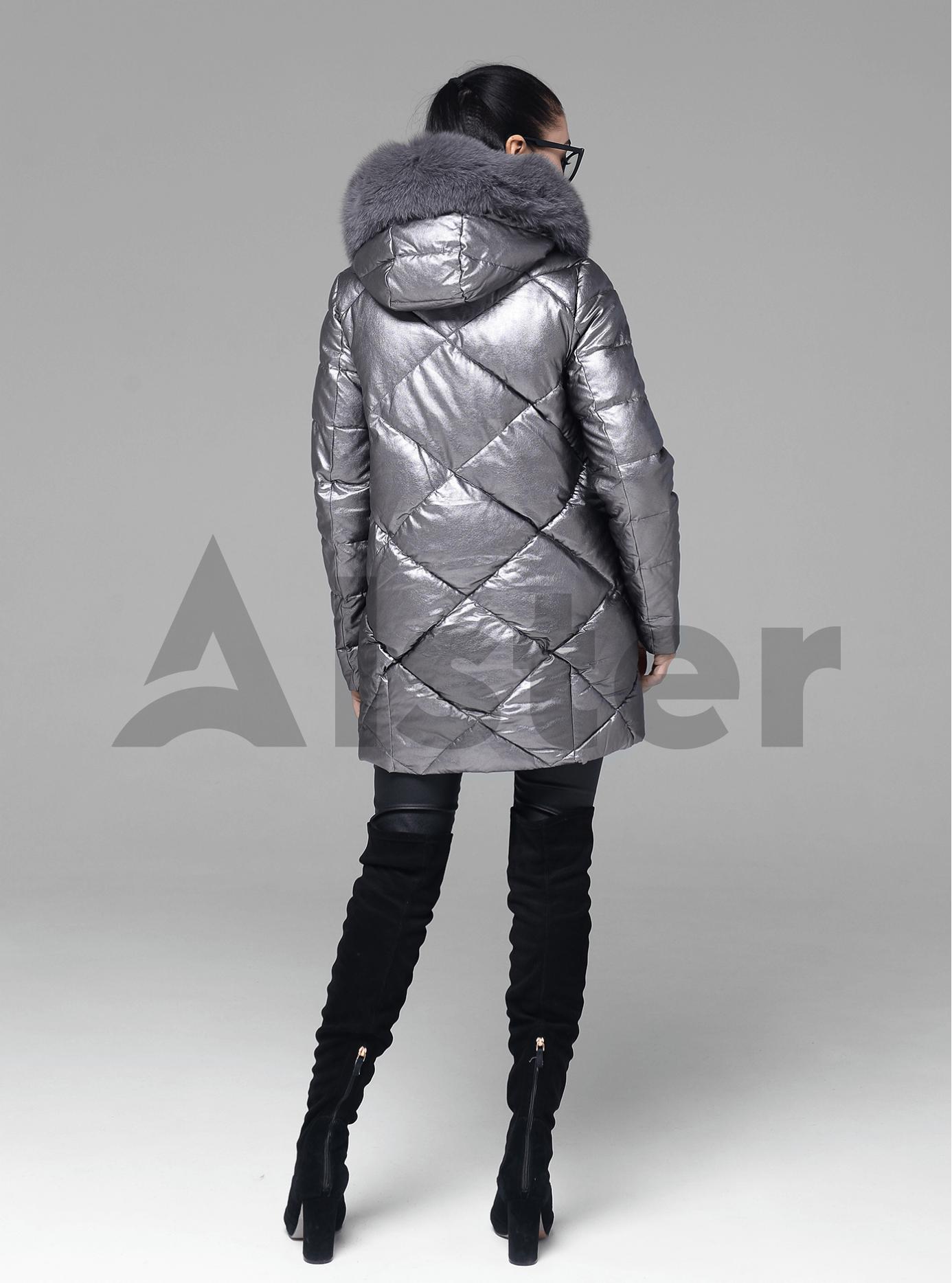 Куртка середньої довжини з хутром песця Срібний 2XL (05-ZL2264): фото - Alster.ua