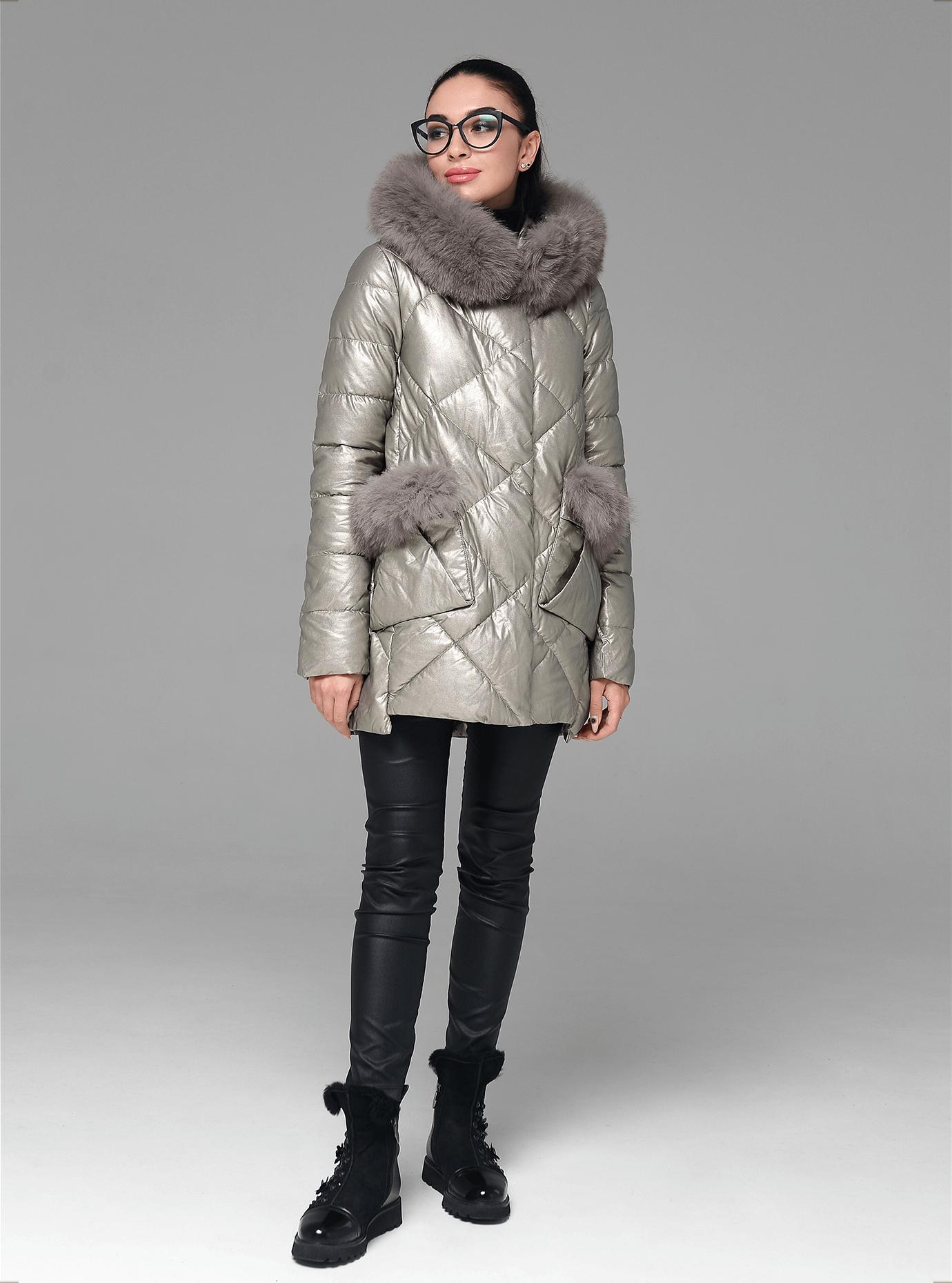 Куртка середньої довжини з хутром песця Бежевий S (05-ZL2250): фото - Alster.ua