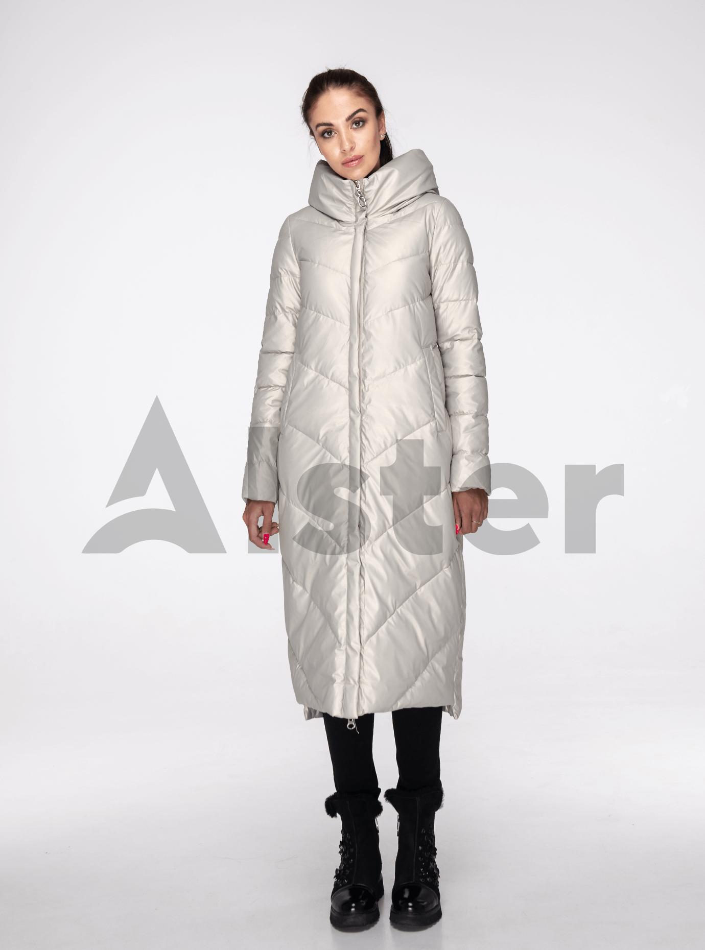Куртка зимова пряма з капюшоном Бежевий S (05-ZL2240): фото - Alster.ua