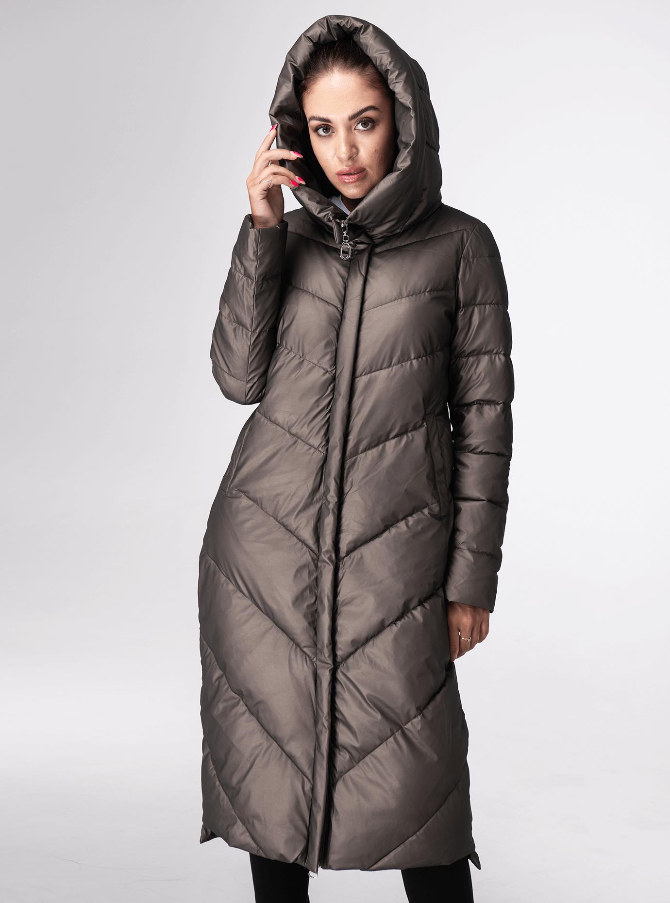Куртка зимова пряма з капюшоном Коричневий M (05-ZL2223): фото - Alster.ua