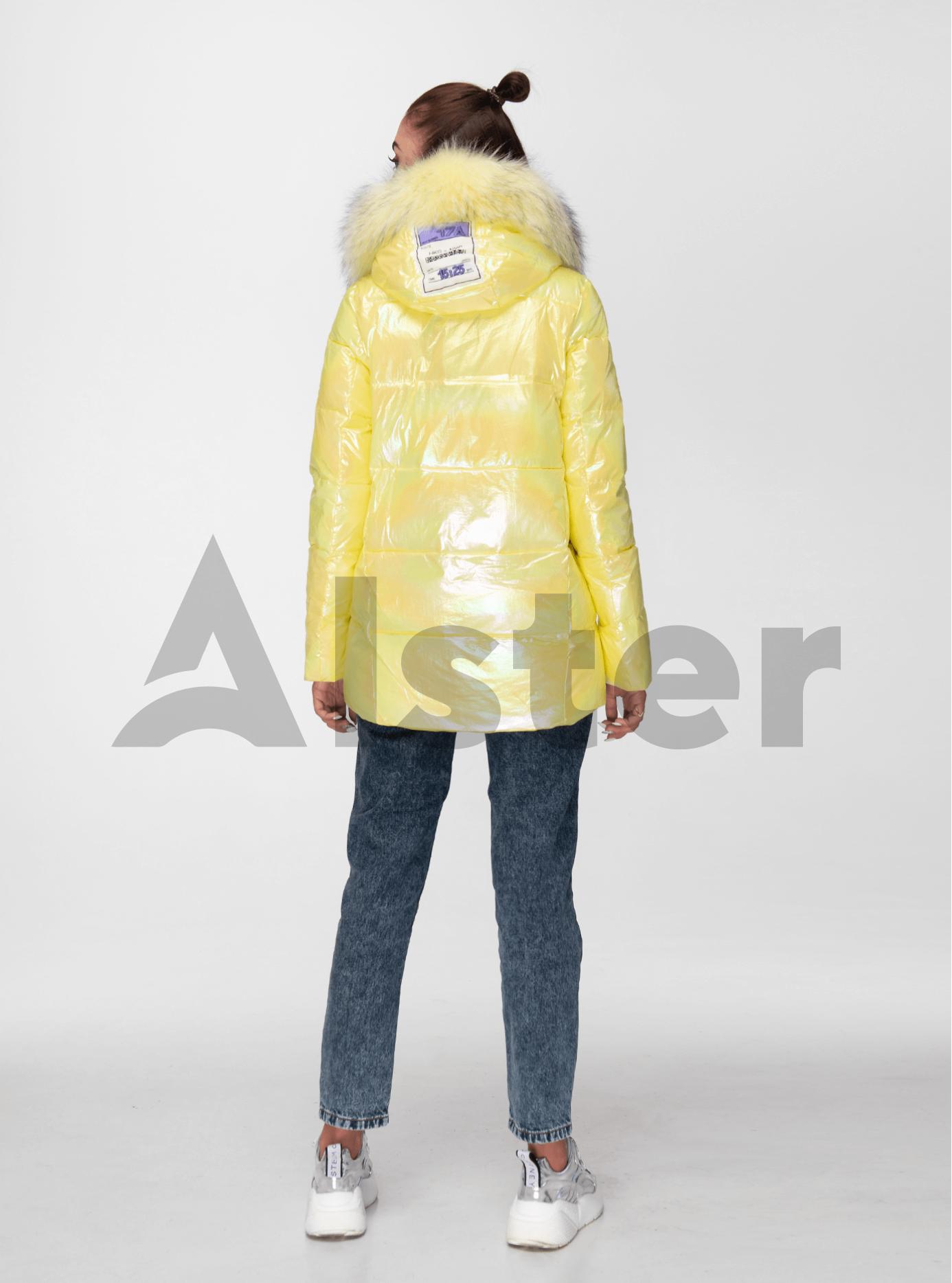 Куртка зимова перламутрова з хутром єнота Жовтий S (05-ZL2012): фото - Alster.ua
