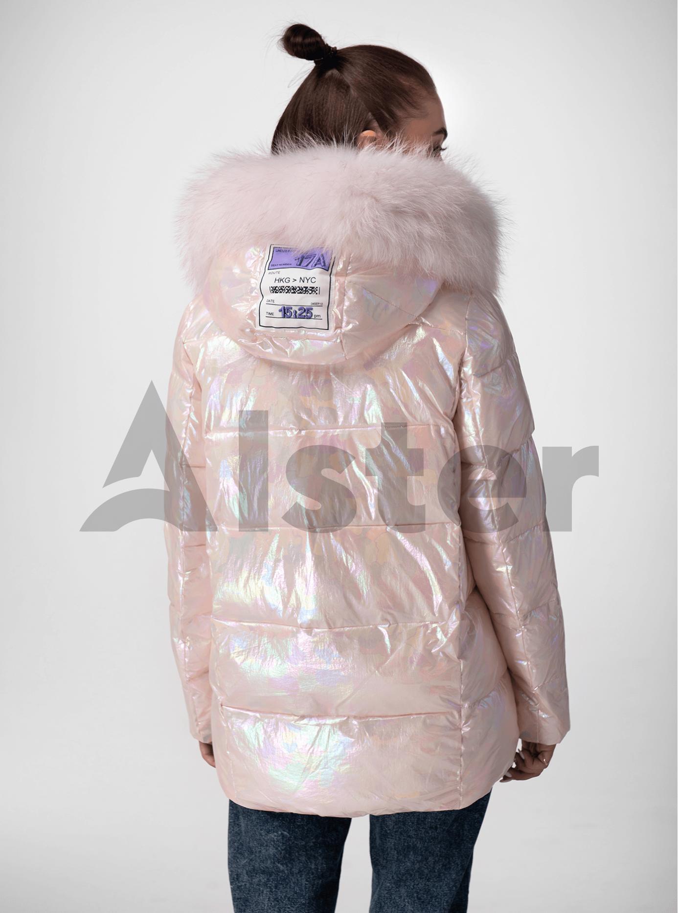 Куртка зимова перламутрова з хутром єнота Пудра S (05-ZL2022): фото - Alster.ua
