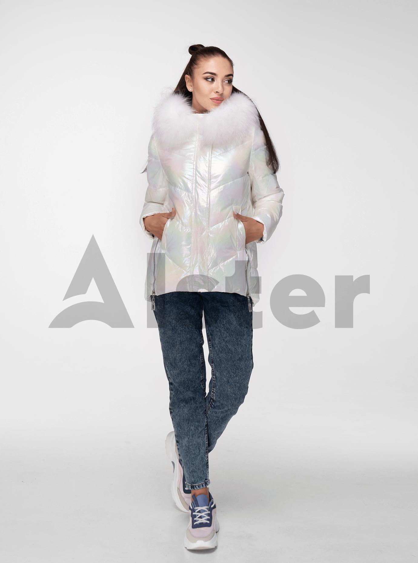 Куртка зимова перламутрова з хутром єнота Білий 2XL (05-ZL2031): фото - Alster.ua