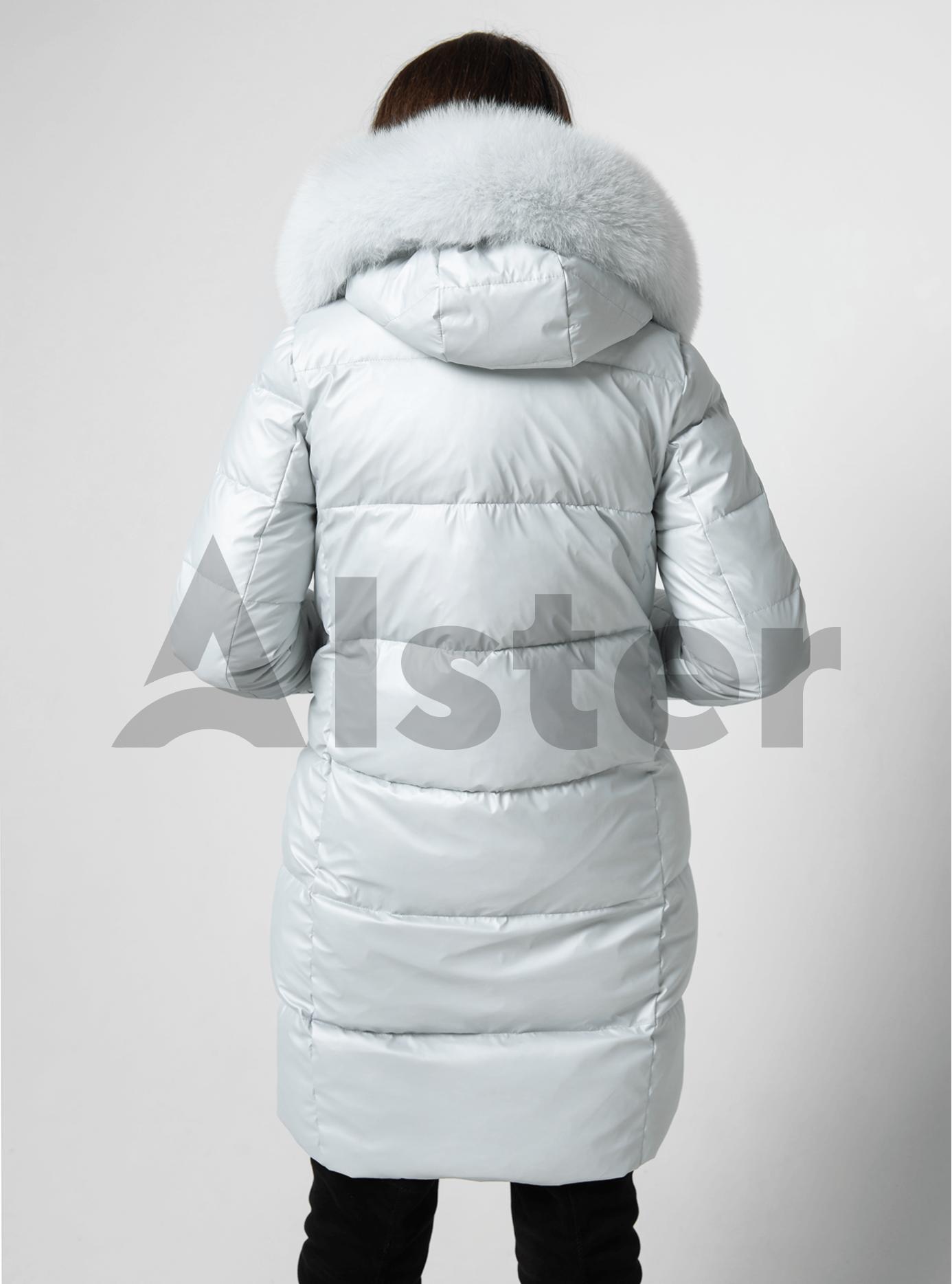 Куртка зимова пряма з натуральним хутром єнота Світло-блакитний S (05-ZL2076): фото - Alster.ua