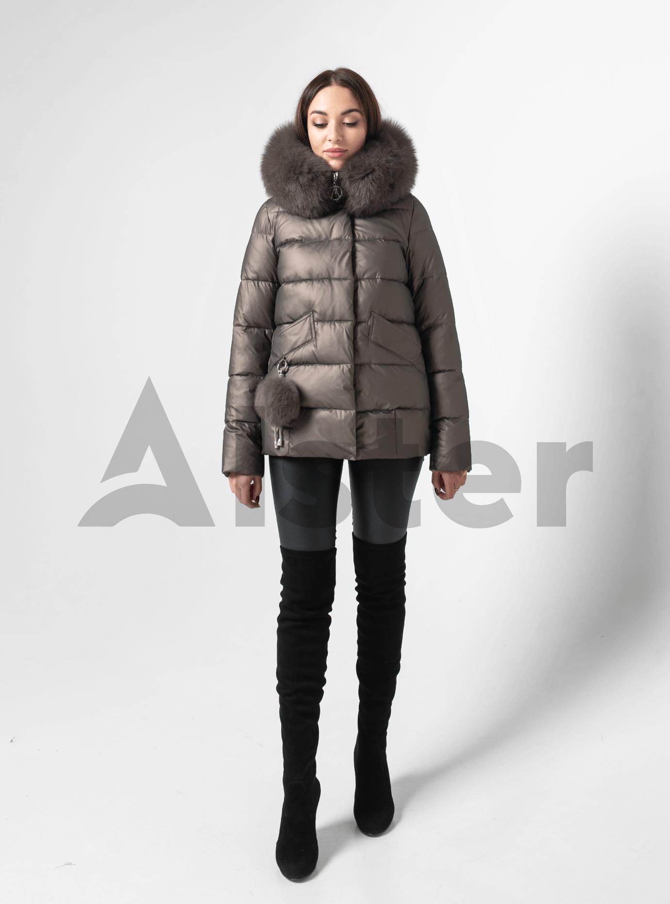 Куртка зимняя короткая с меховой опушкой и брелоком Коричневый M (05-ZL2086): фото - Alster.ua
