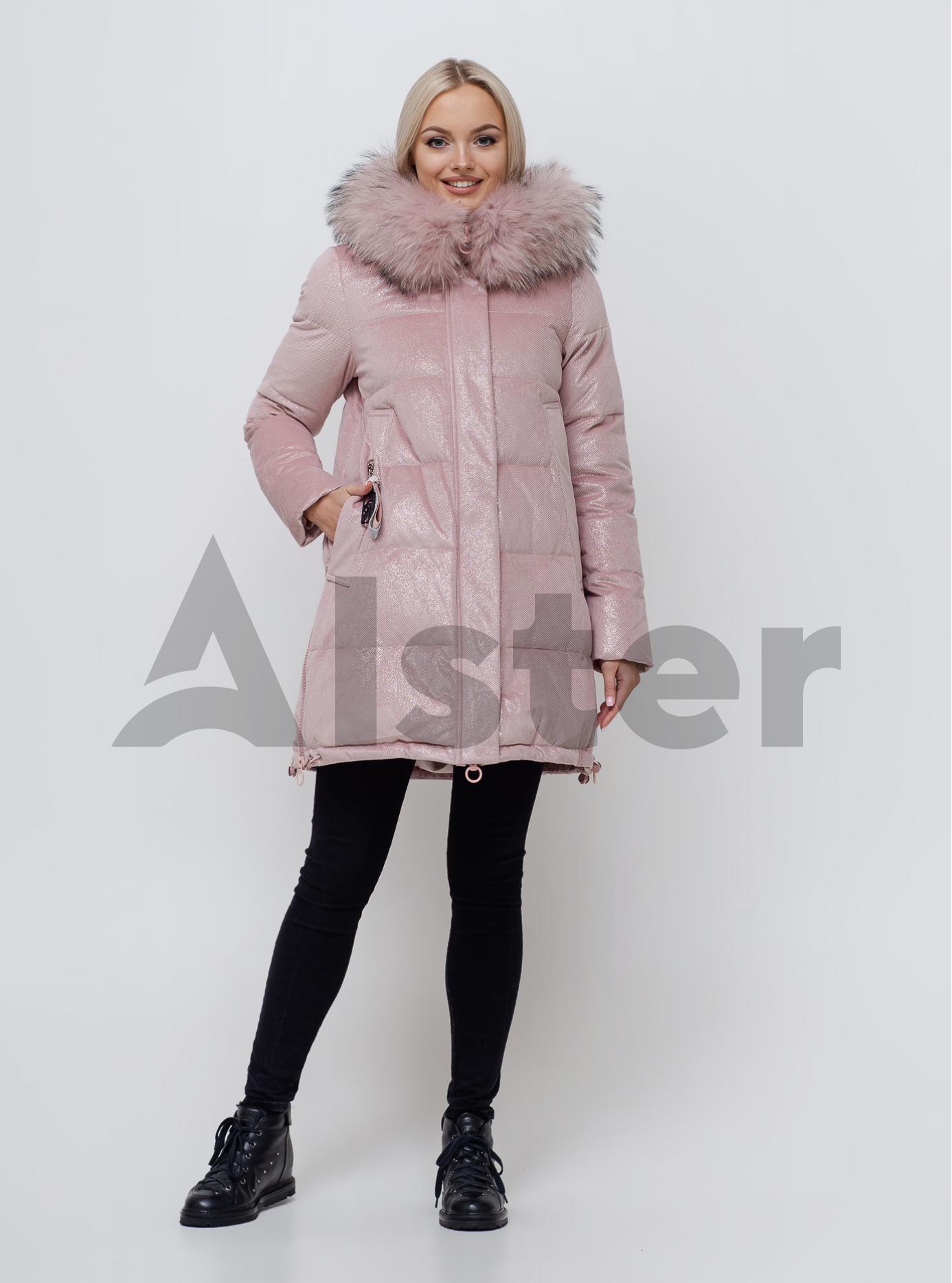 Жіноча зимова куртка з хутром Світло рожевий S (05-SV201089): фото - Alster.ua