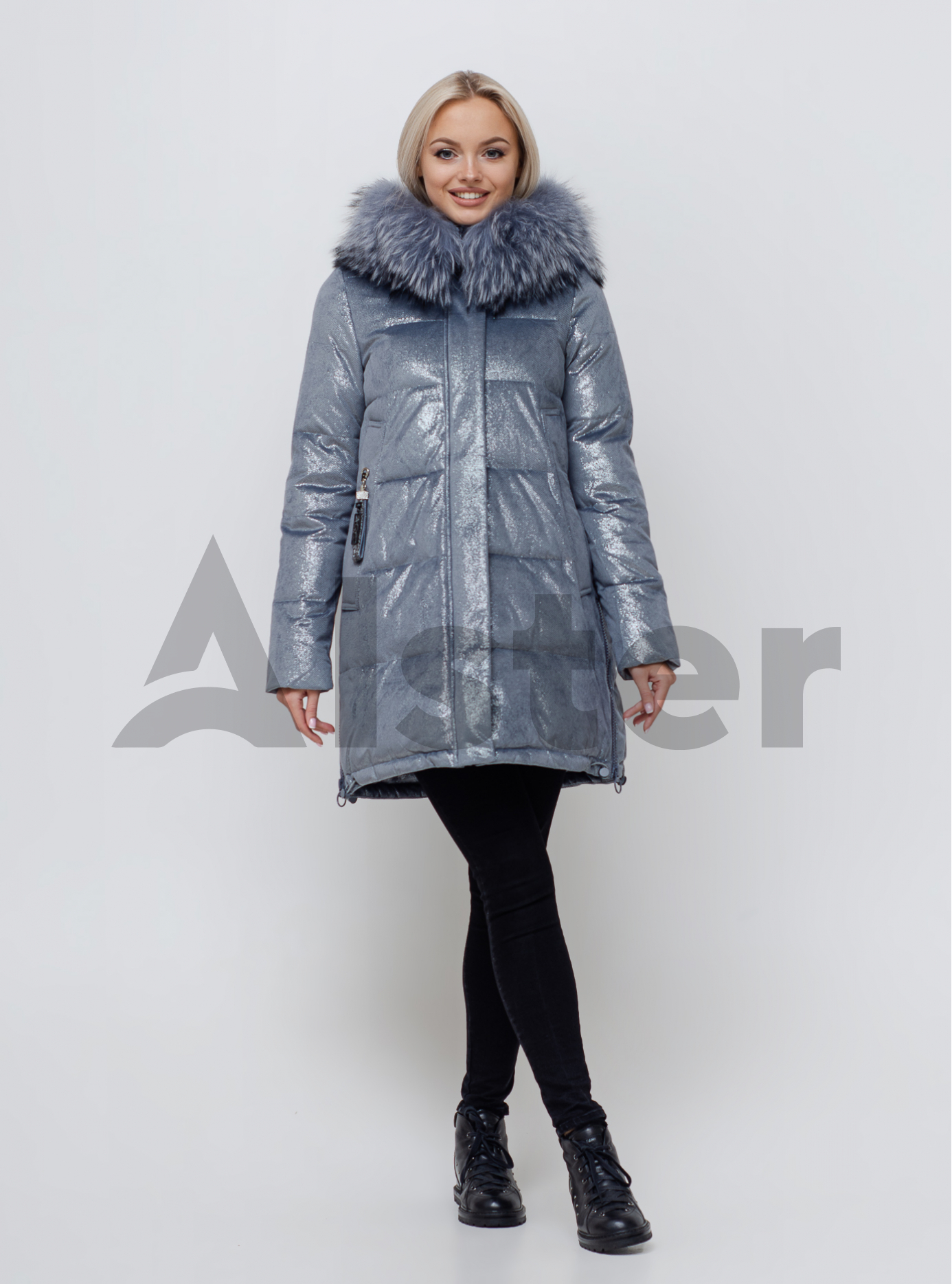Женская зимняя куртка с мехом Серо-голубой S (05-SV201084): фото - Alster.ua