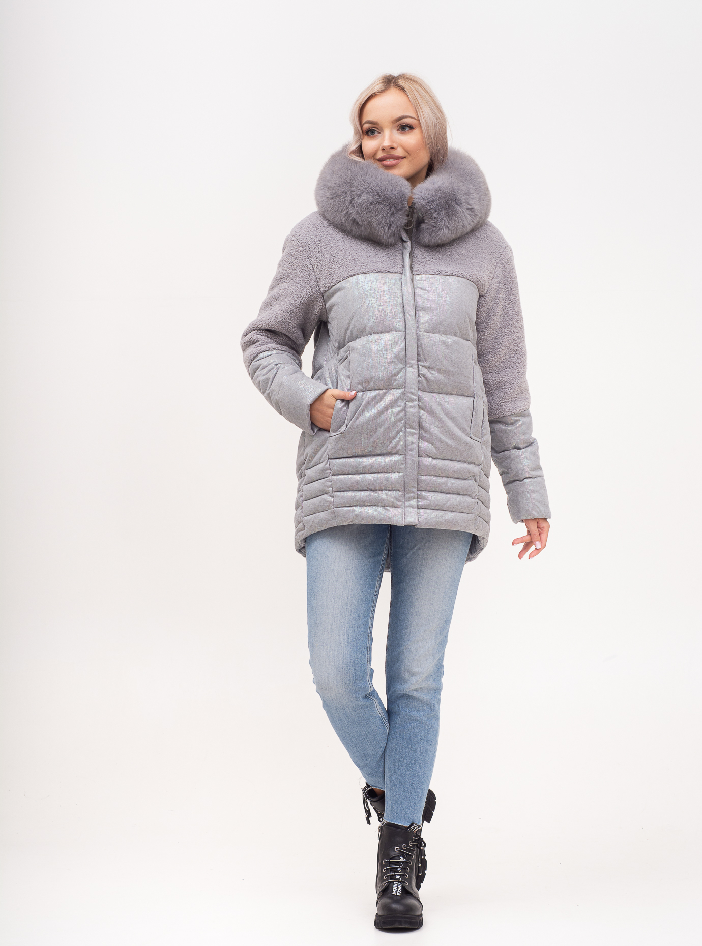 Куртка зимняя с капюшоном и мехом песца Серый S (02-N200689): фото - Alster.ua
