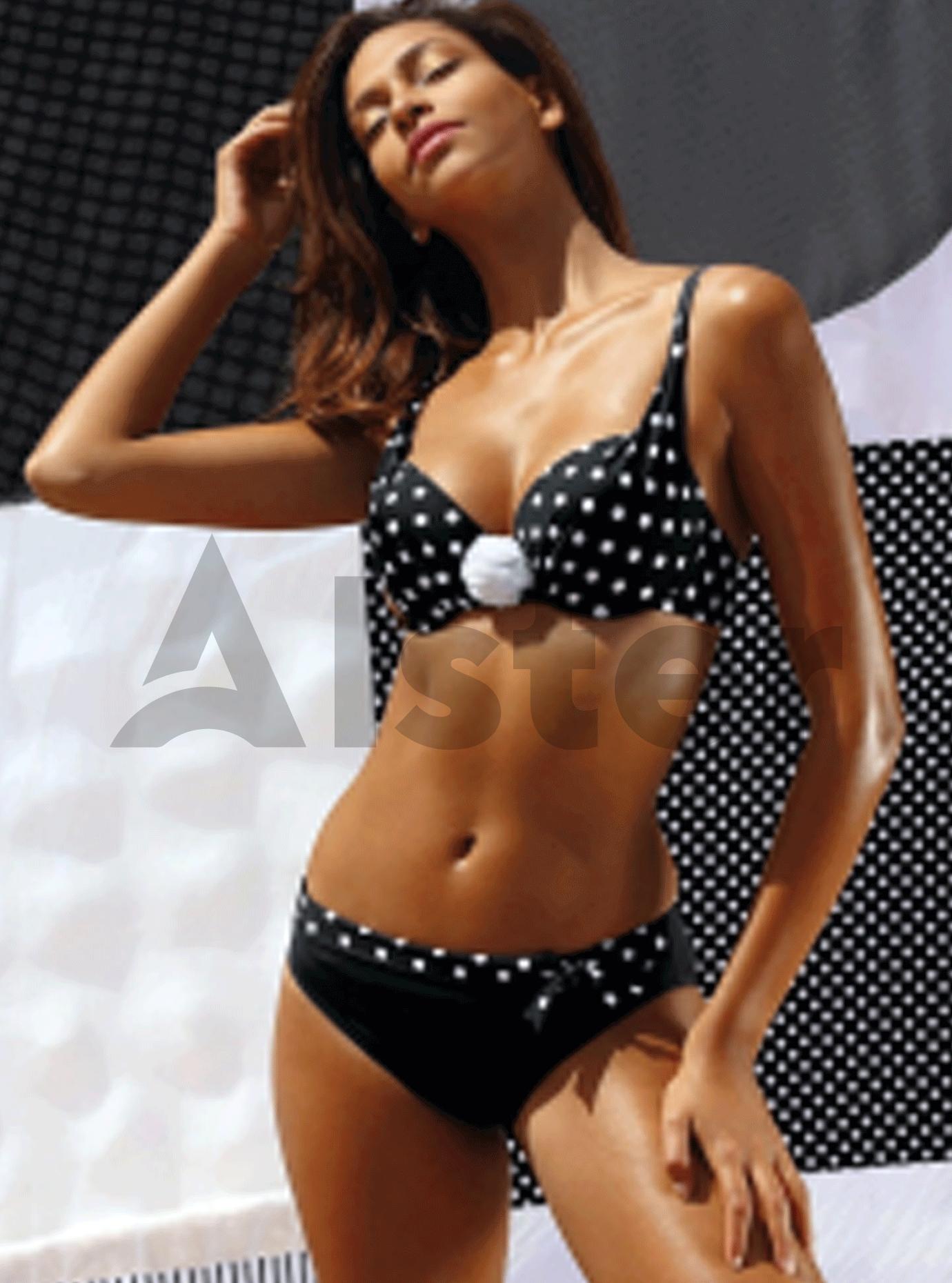 Раздельный купальник с 3D рисунком Чёрный 38C (01-KF20019): фото - Alster.ua