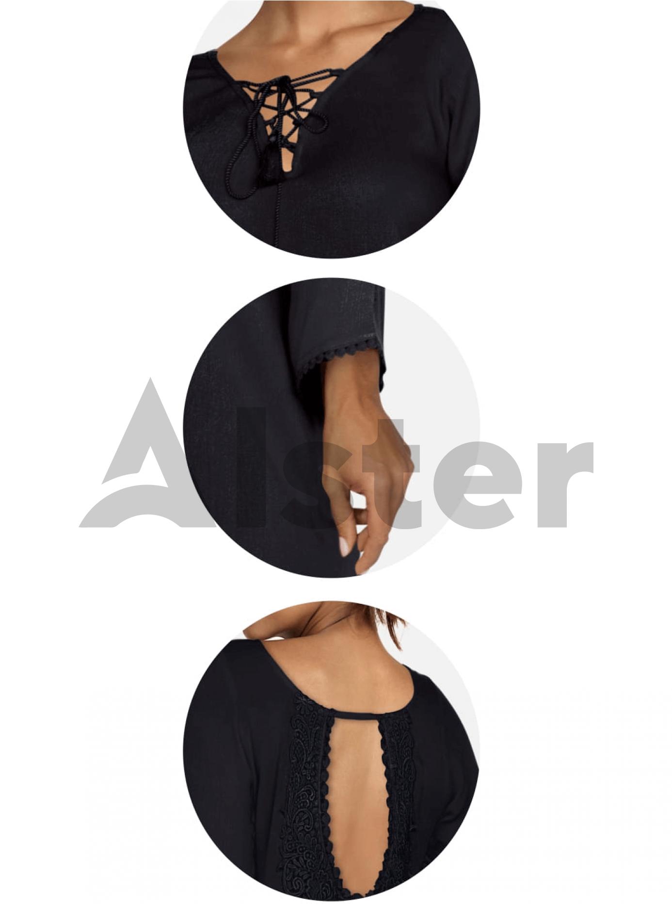 Пляжная туника с вышивкой Чёрный S (01-T19007): фото - Alster.ua