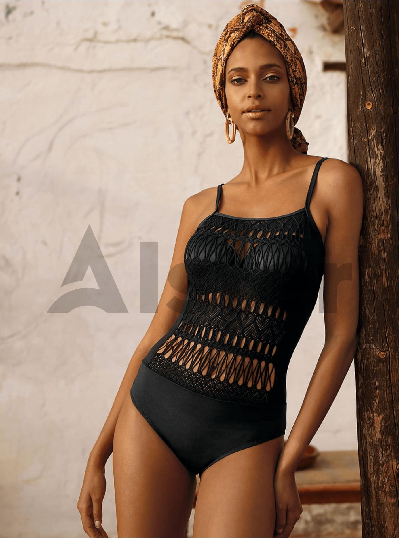 Сдельный купальник с плетением Чёрный 40C (01-KF20009): фото - Alster.ua