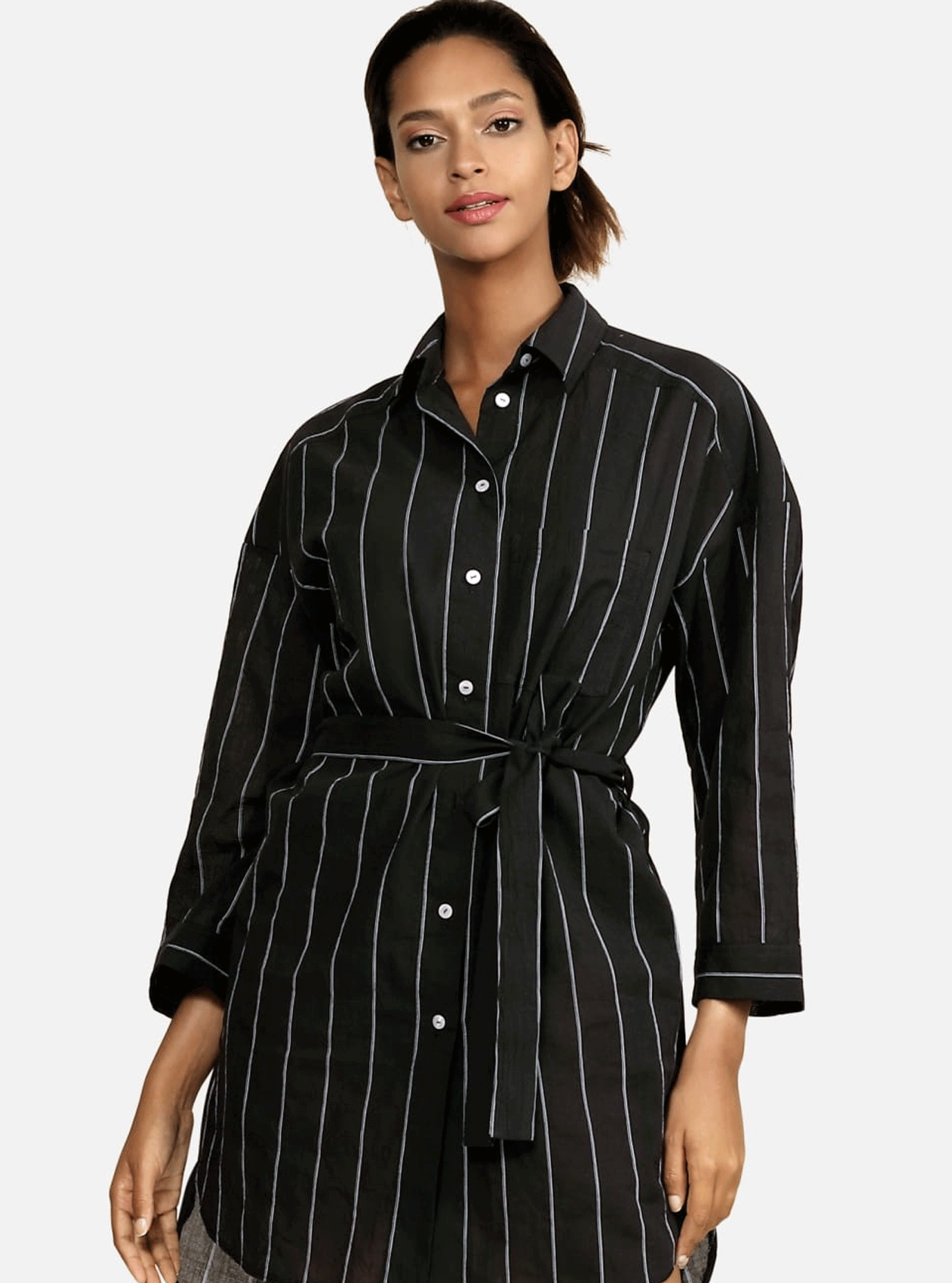 Пляжная туника-рубашка Чёрный S (01-T19009): фото - Alster.ua