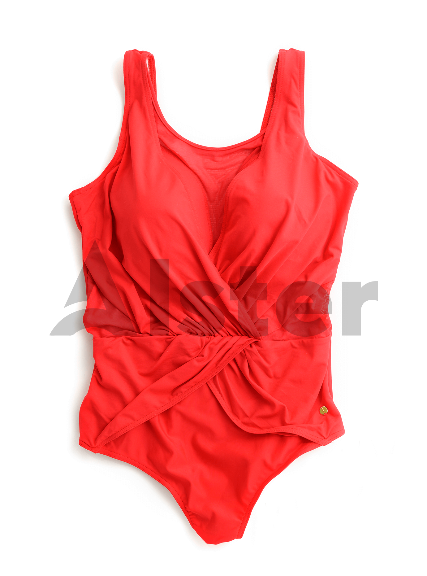 Сдельный купальник с драпировкой и сеткой Красный 2XL (01-K190364): фото - Alster.ua