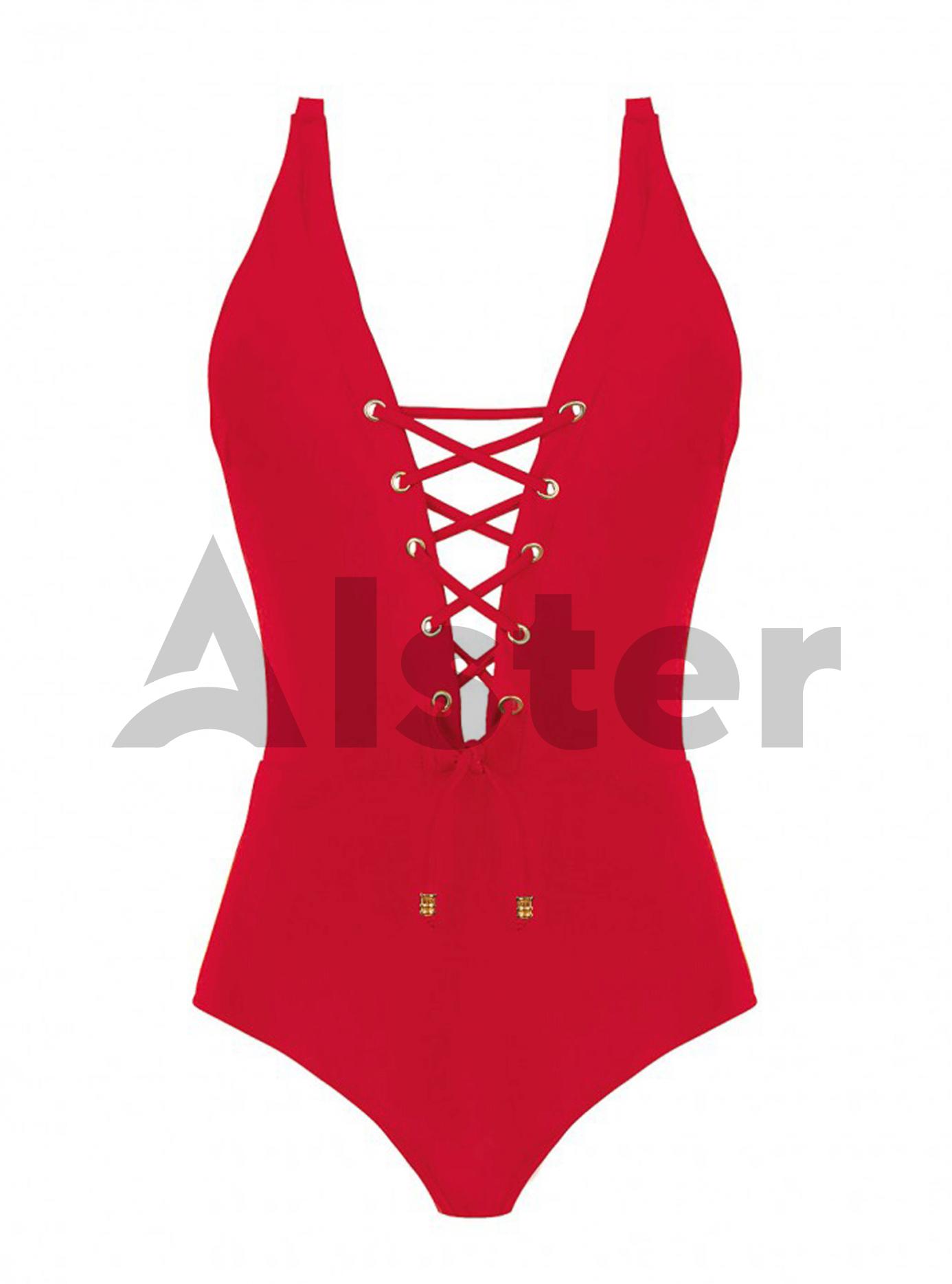 Сдельный купальник со шнуровкой Красный M (01-K190408): фото - Alster.ua