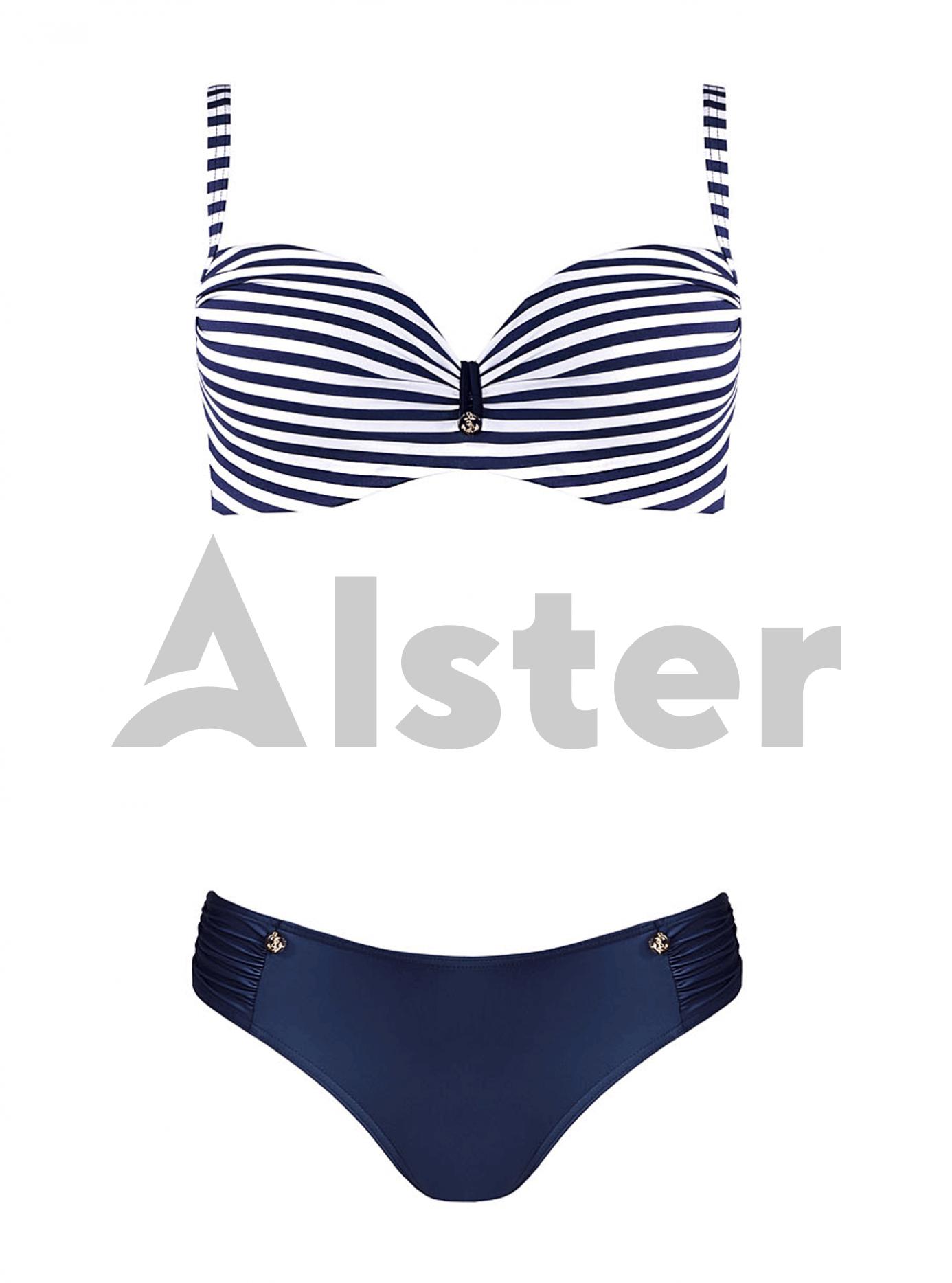 Раздельный купальник с полосатым верхом Синий 46B (01-K190561): фото - Alster.ua