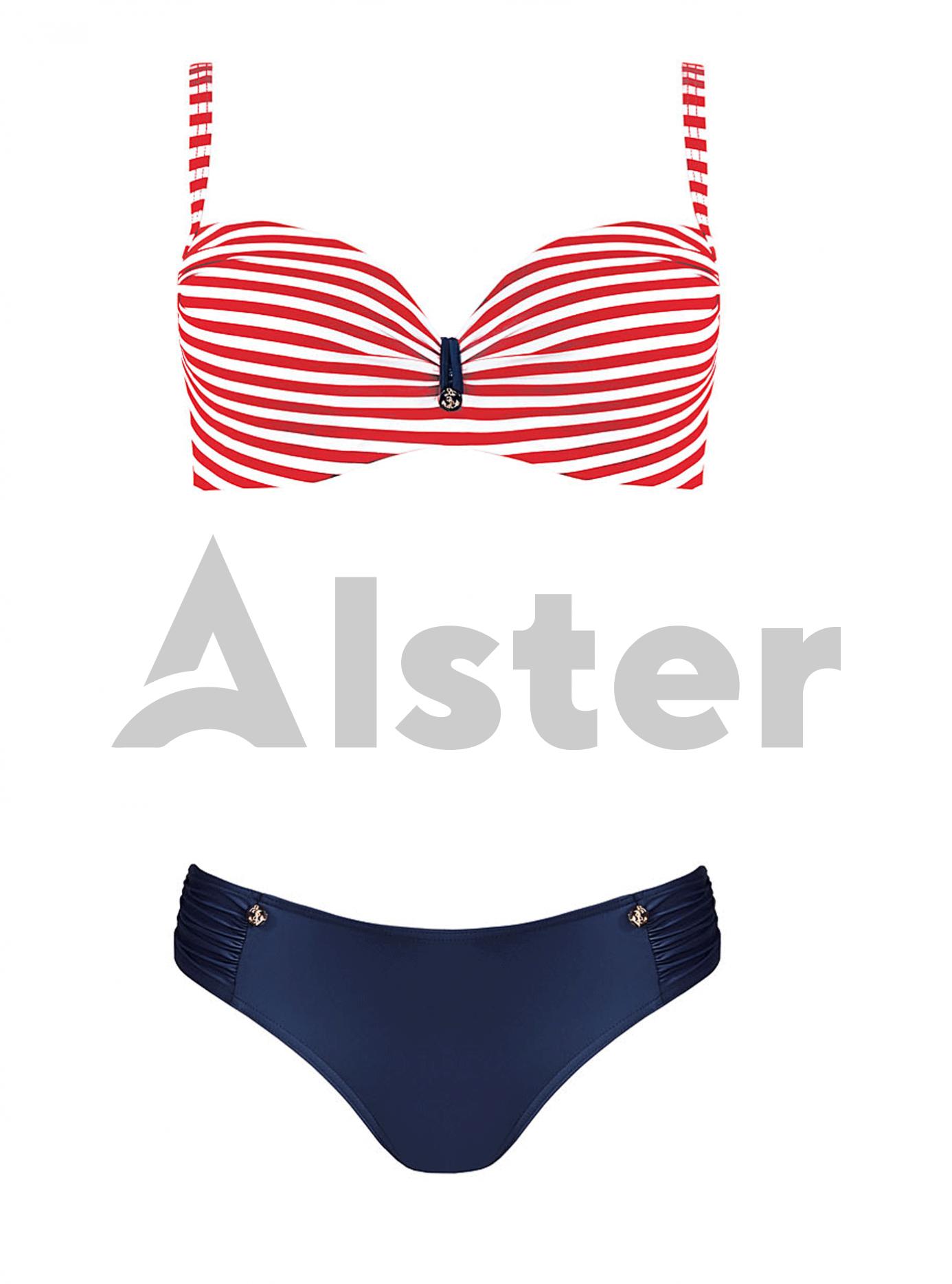 Раздельный купальник с полосатым верхом Красный 44E (01-K190569): фото - Alster.ua