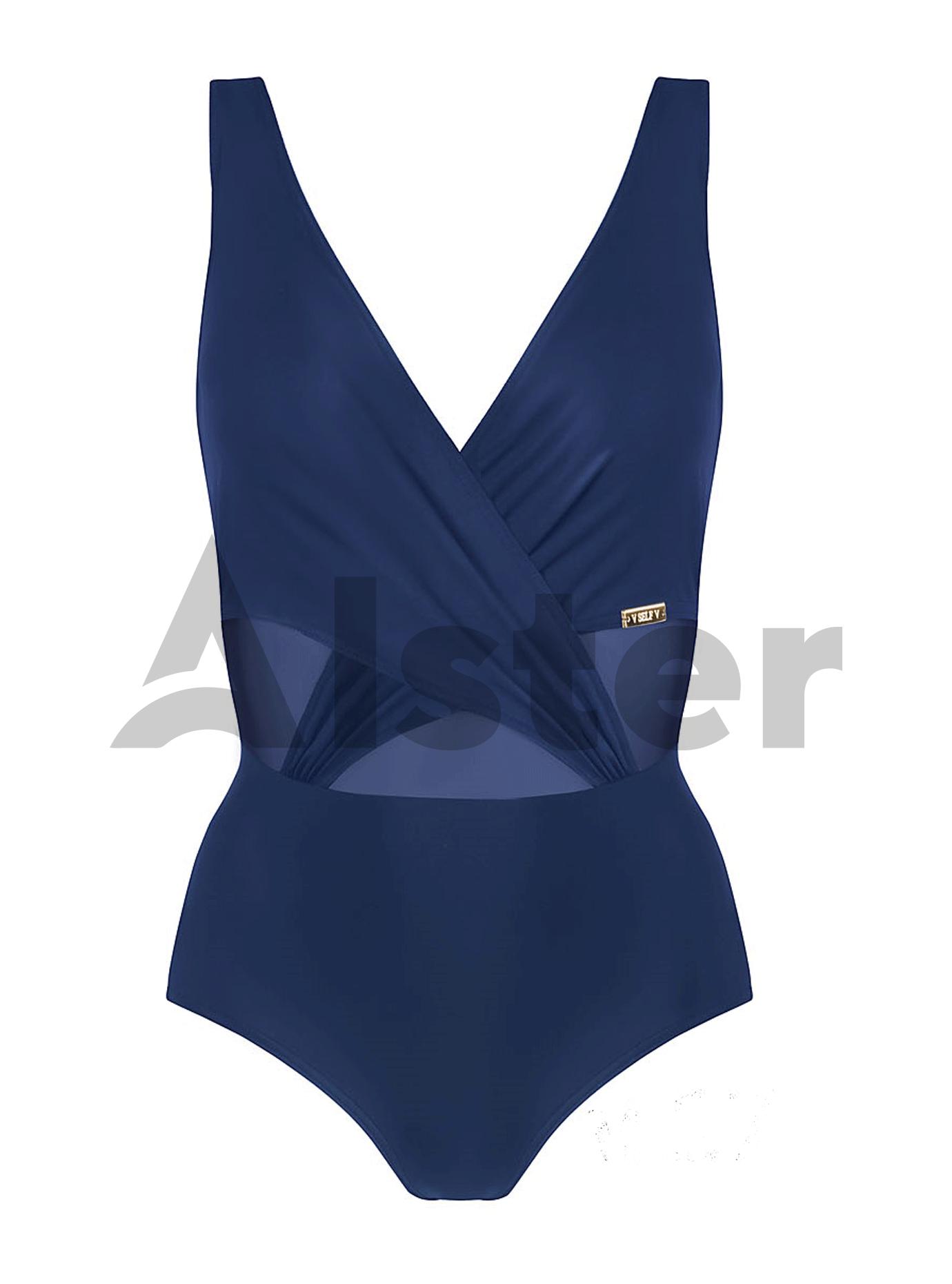 Сдельный купальник с декоративной сеткой Синий M (01-K190418): фото - Alster.ua