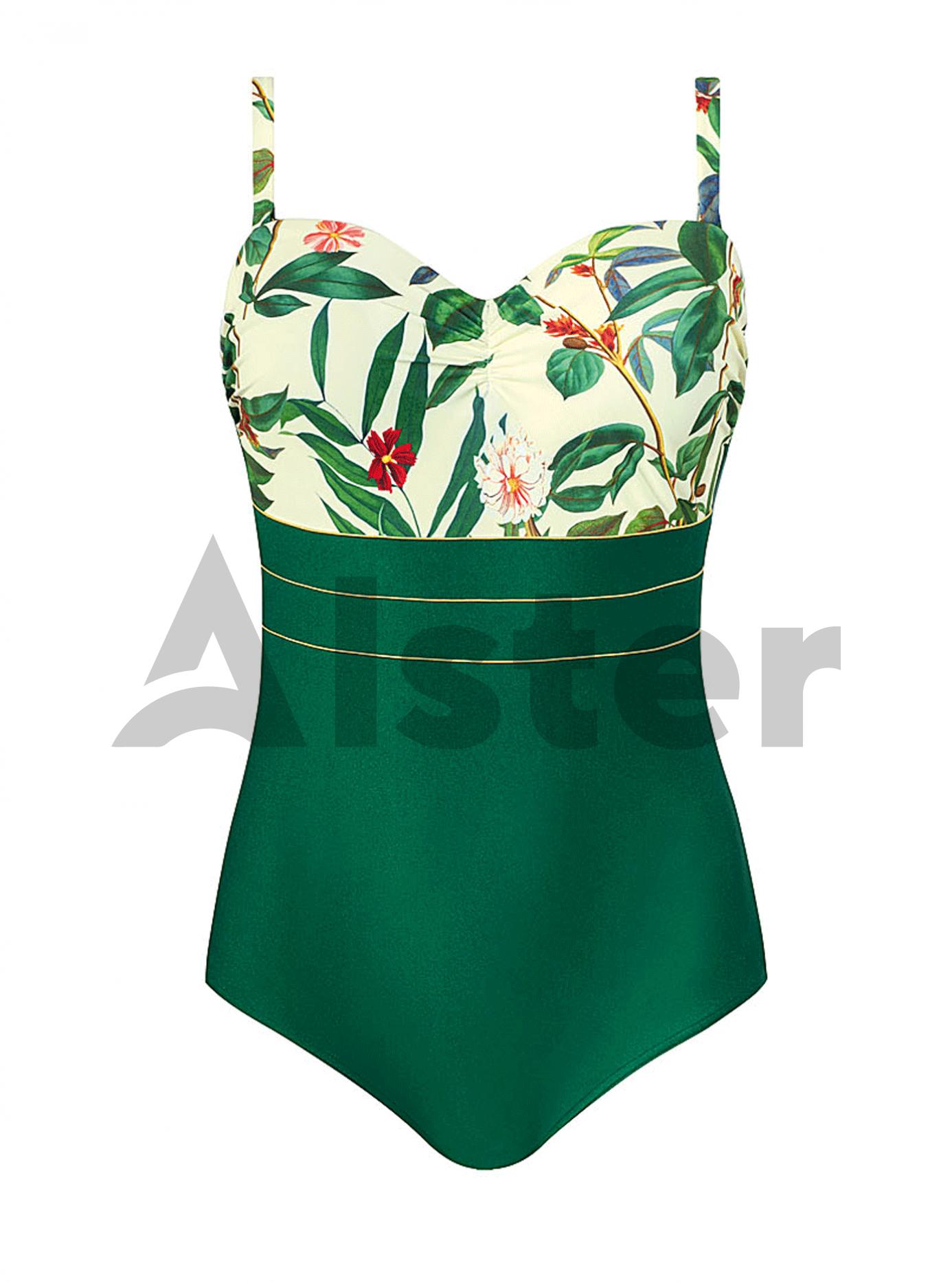 Сдельный купальник с цветами Зелёный 50B (01-K190468): фото - Alster.ua