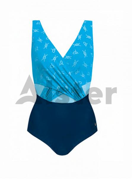 Суцільний купальник з декоративною сіткою SELF S1081M21