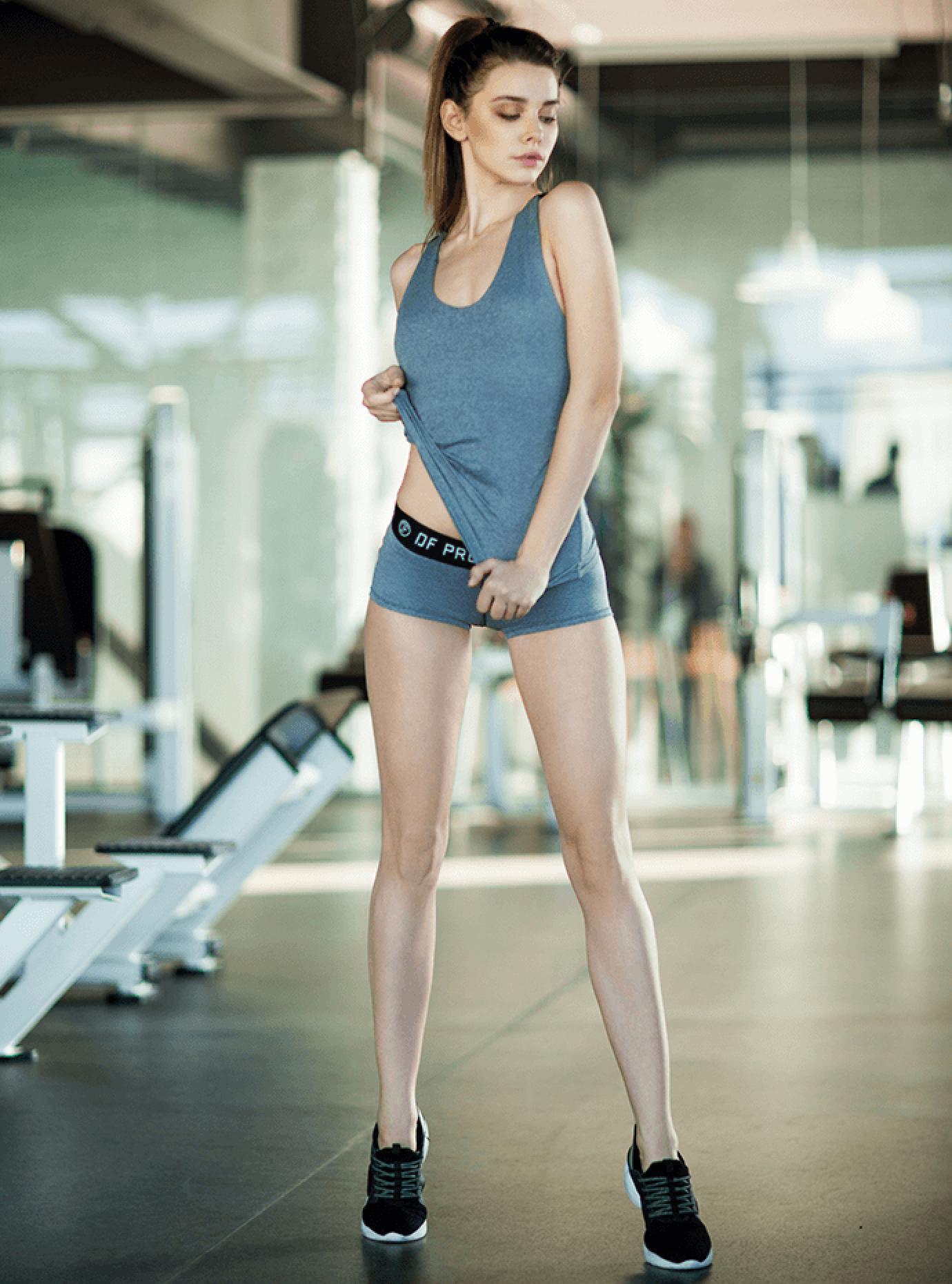 Комплект женский Fitness Grey Shorts Серый S (01-F171125): фото - Alster.ua