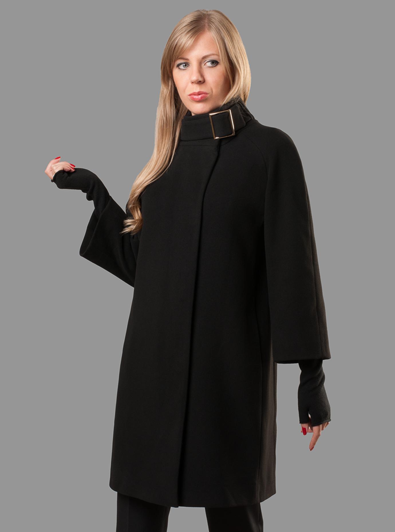 Пальто демисезонное длинное Чёрный S (07-P17056): фото - Alster.ua