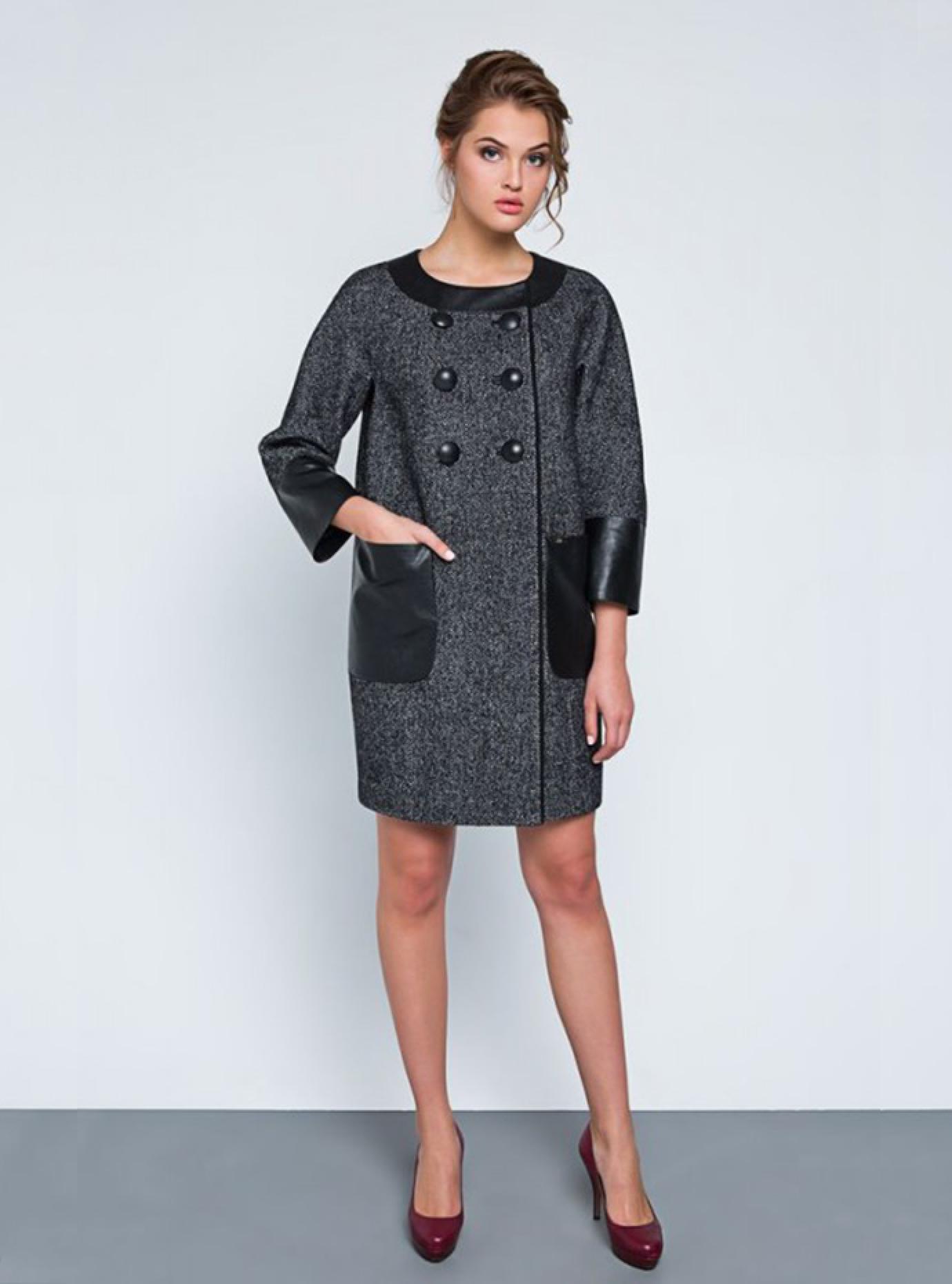 Пальто женское демисезонное декорированное эко-кожей Серый 42 (07-P17001): фото - Alster.ua