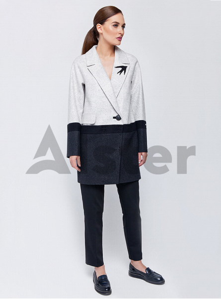 Пальто демисезонное двухцветное на пуговице