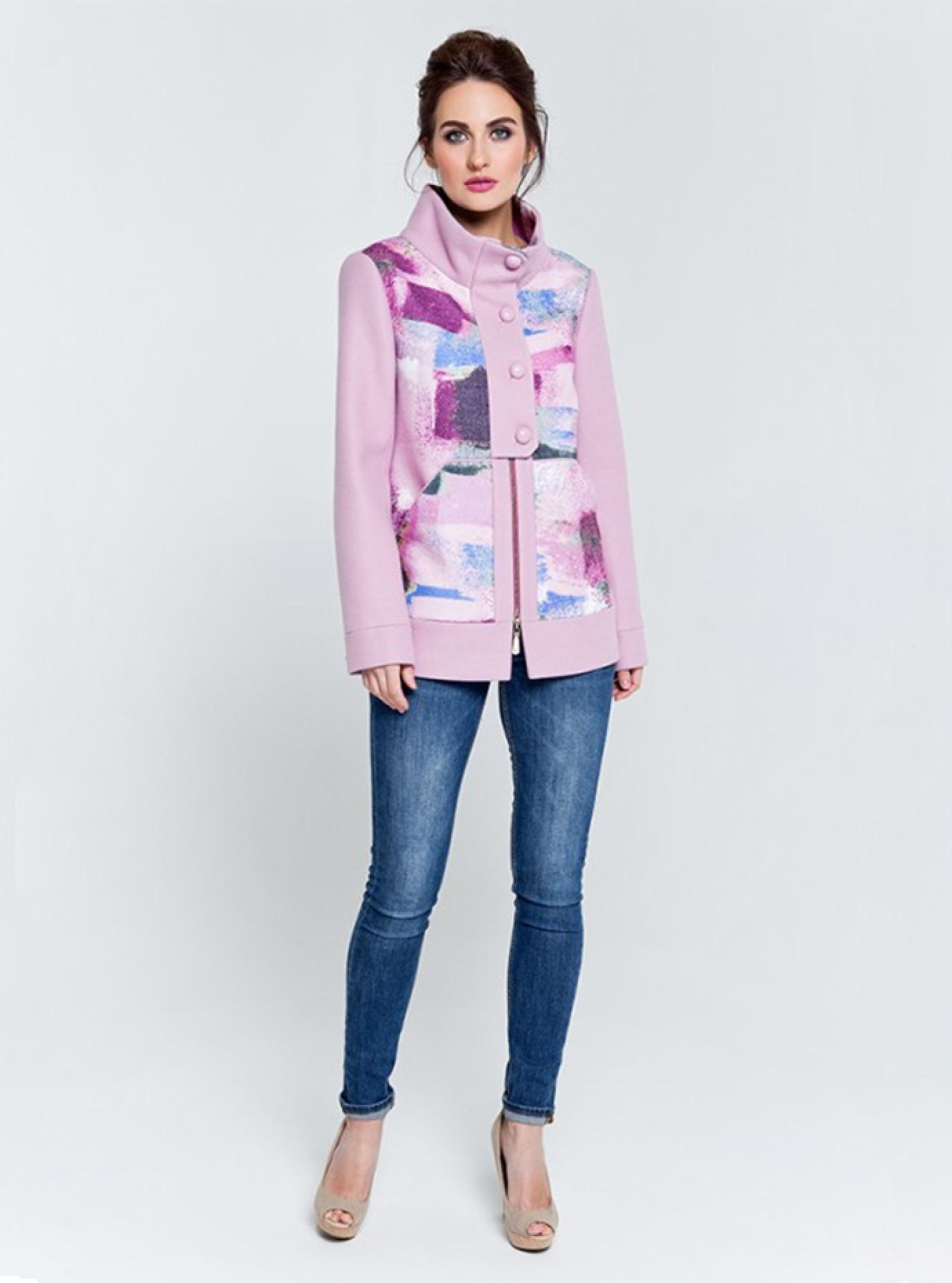 Пальто демисезонное короткое с принтом Розовый 42 (07-P17010): фото - Alster.ua