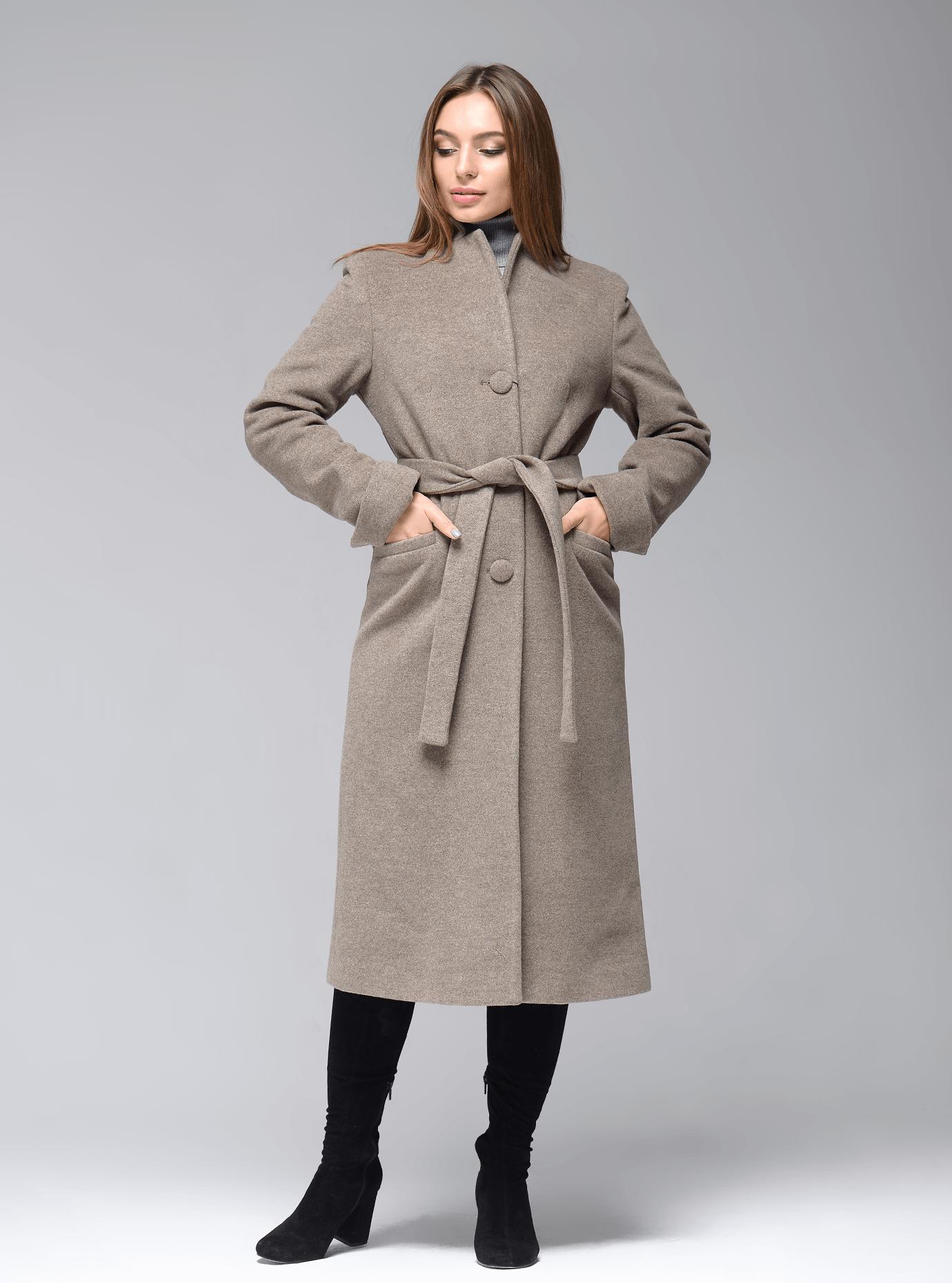 Пальто демисезонное длинное с поясом Серый 42 (07-P17014): фото - Alster.ua