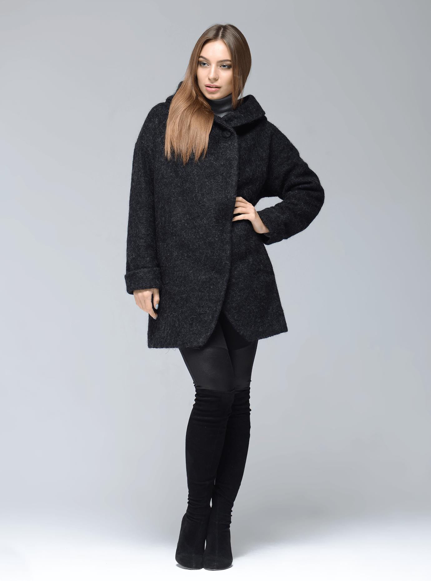 Пальто демисезонное средней длины с капюшоном Чёрный 46 (07-P17022): фото - Alster.ua