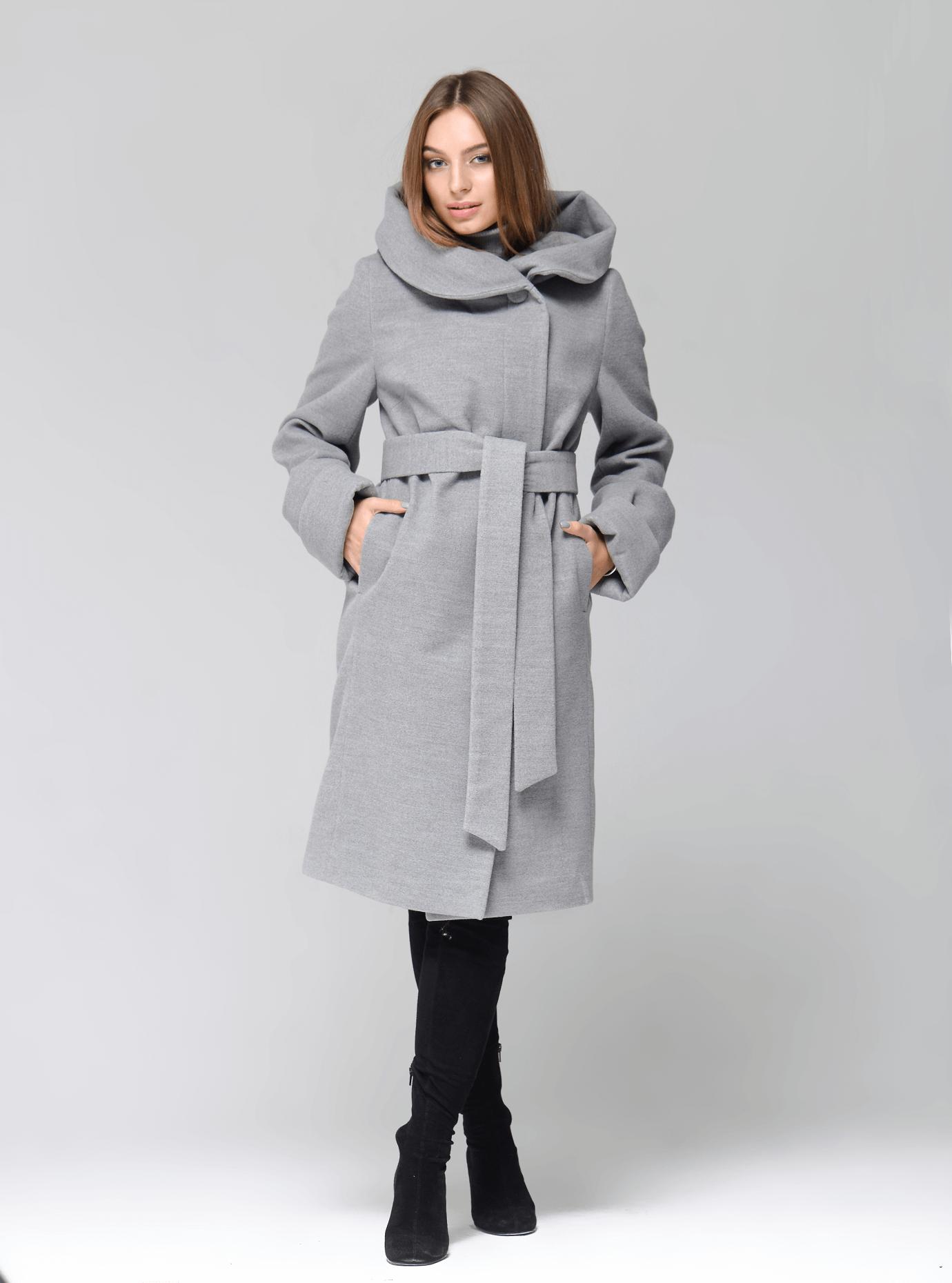 Пальто демисезонное длинное с капюшоном Серый 46 (07-P17021): фото - Alster.ua