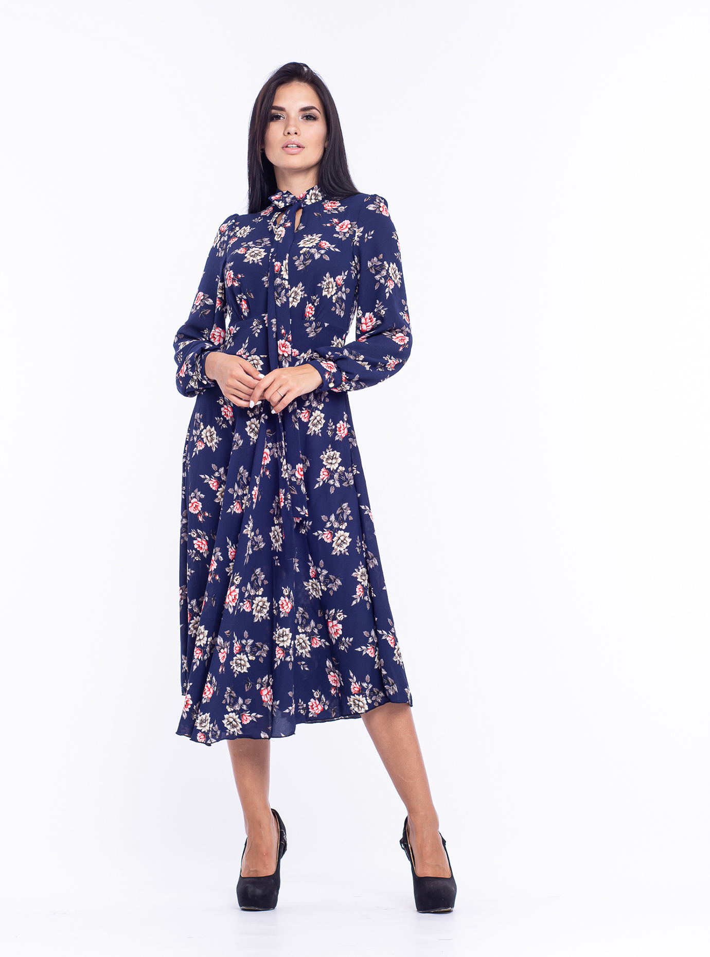 Платье приталенное Синий 44 (04-8987977): фото - Alster.ua