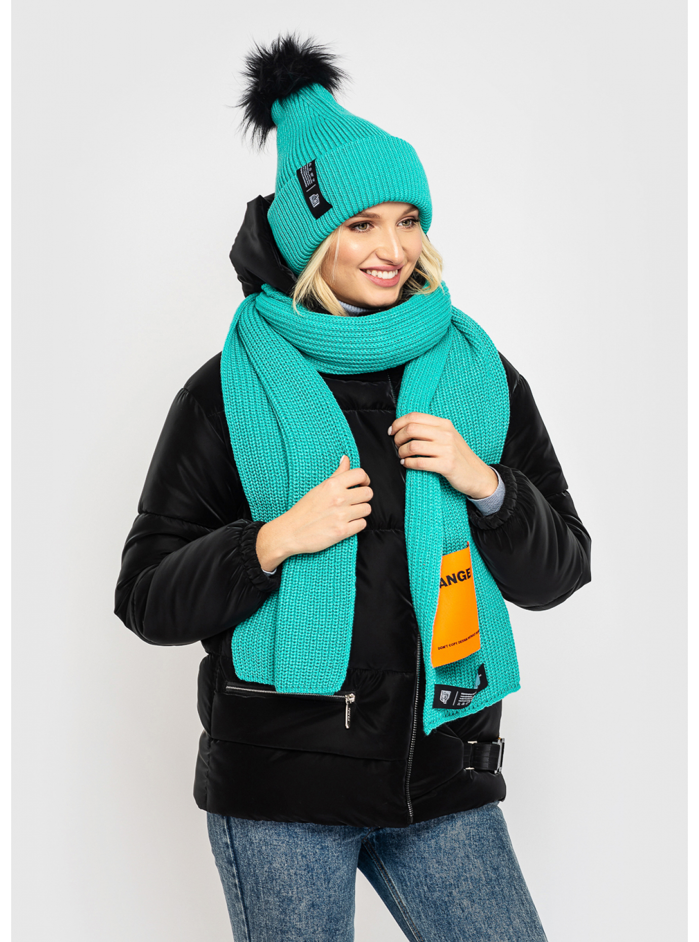 Комплект жіночий шапка + шарф Голубий S-L (01-sh9039): фото - Alster.ua