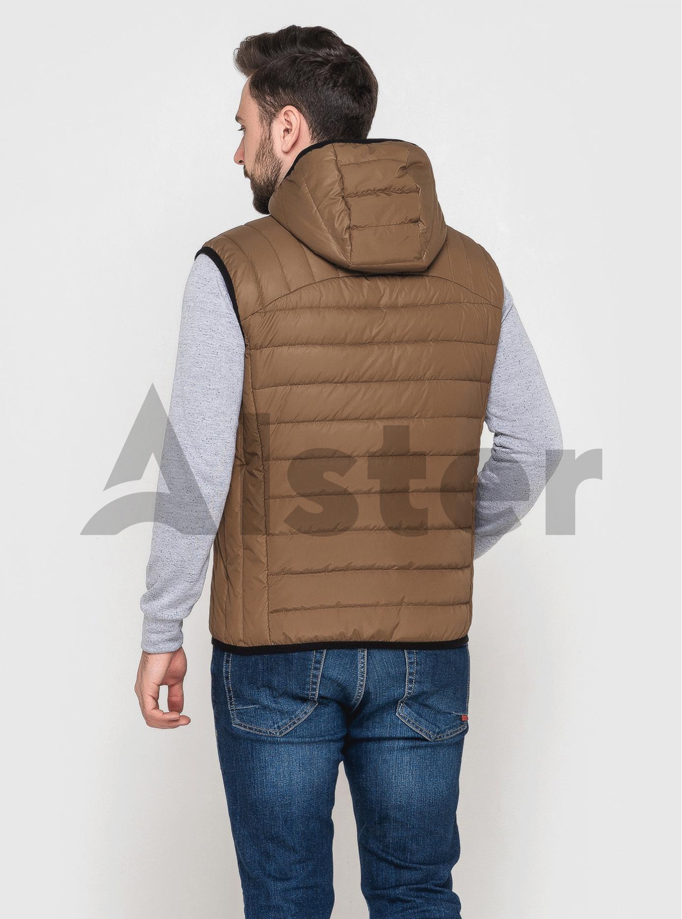 Жилет чоловічий стьобаний з капюшоном Світло-коричневий 46 (02-MT21212): фото - Alster.ua