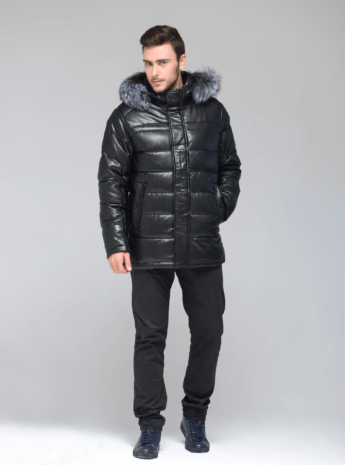 Куртка мужская зимняя мех чернобурка Чёрный 46 (02-MR19072): фото - Alster.ua