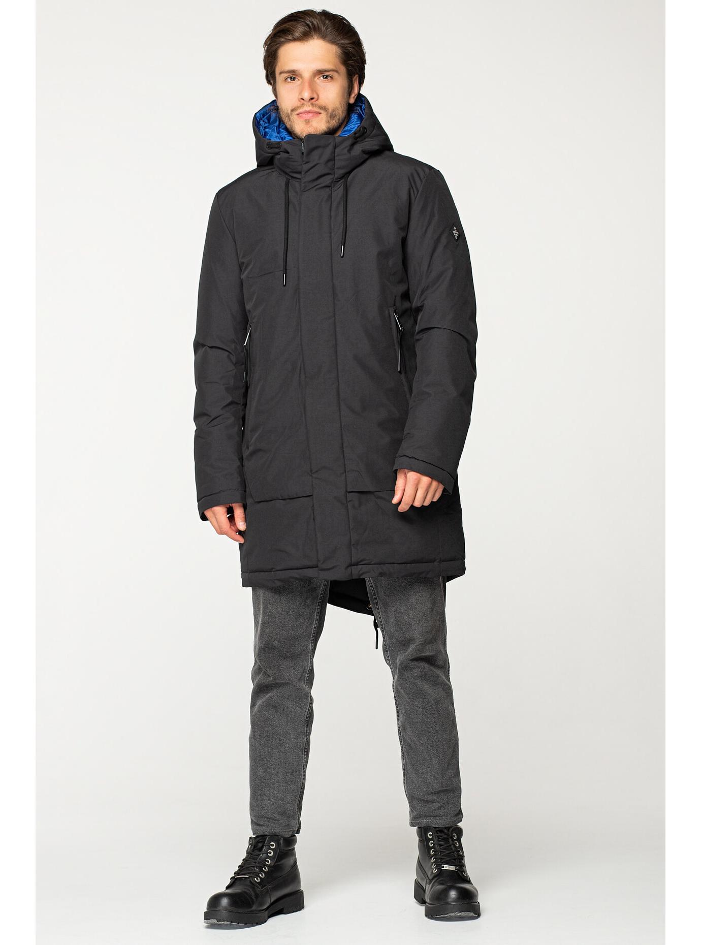 Мужская зимняя куртка с капюшоном Чёрный S (02-MV1901): фото - Alster.ua