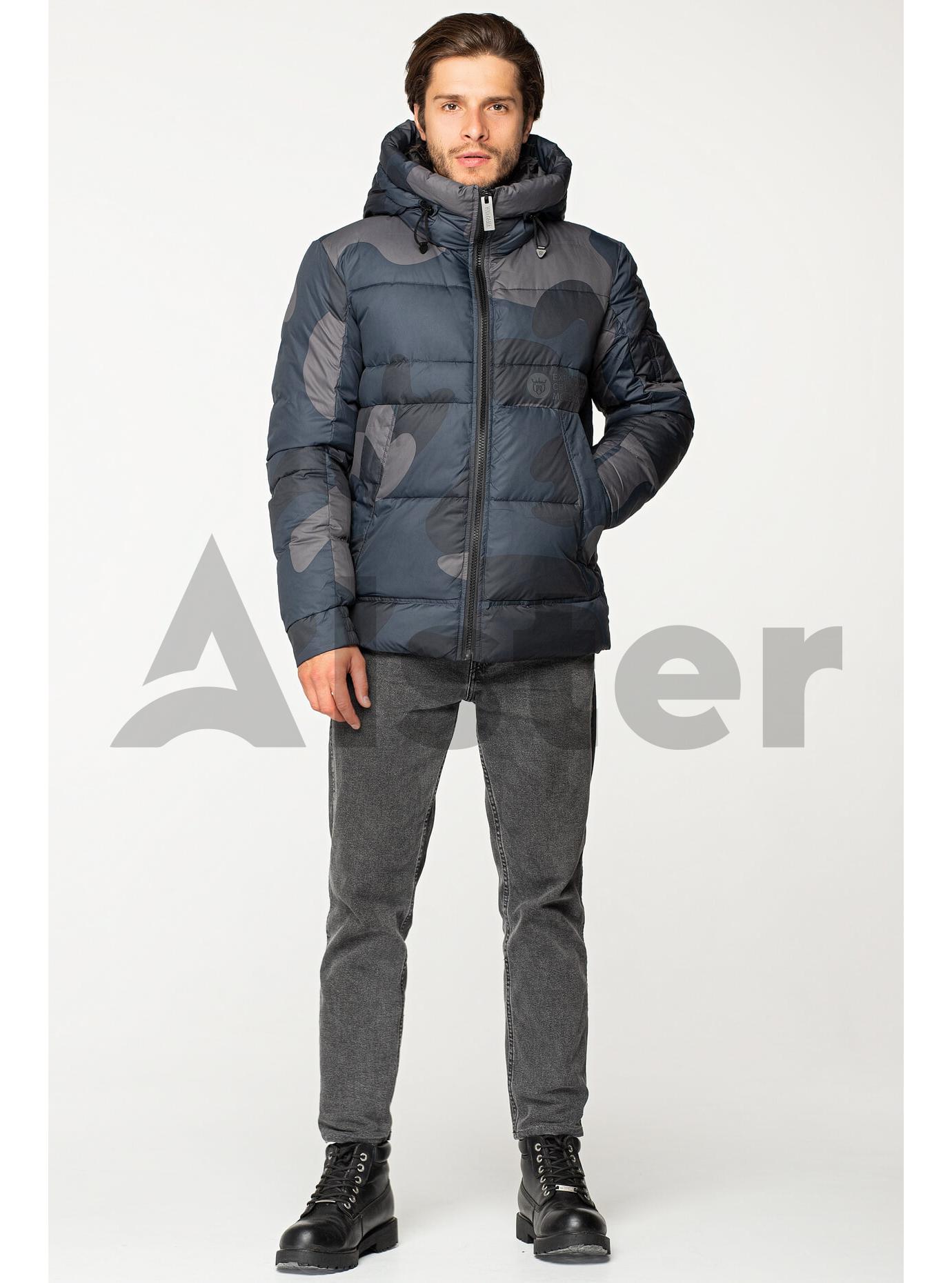 Мужская зимняя куртка с капюшоном Синий S (02-MV1928): фото - Alster.ua